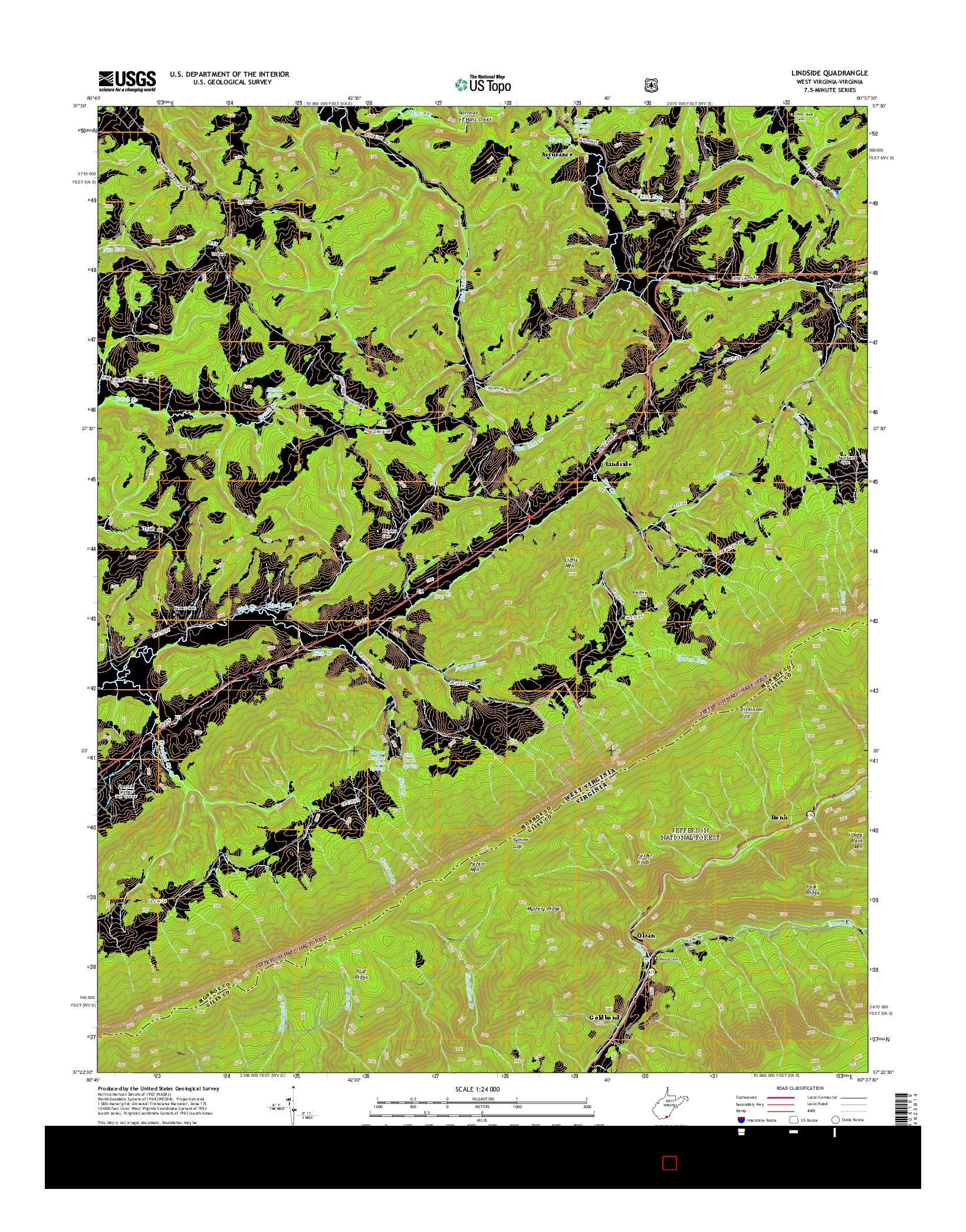 USGS US TOPO 7.5-MINUTE MAP FOR LINDSIDE, WV-VA 2014