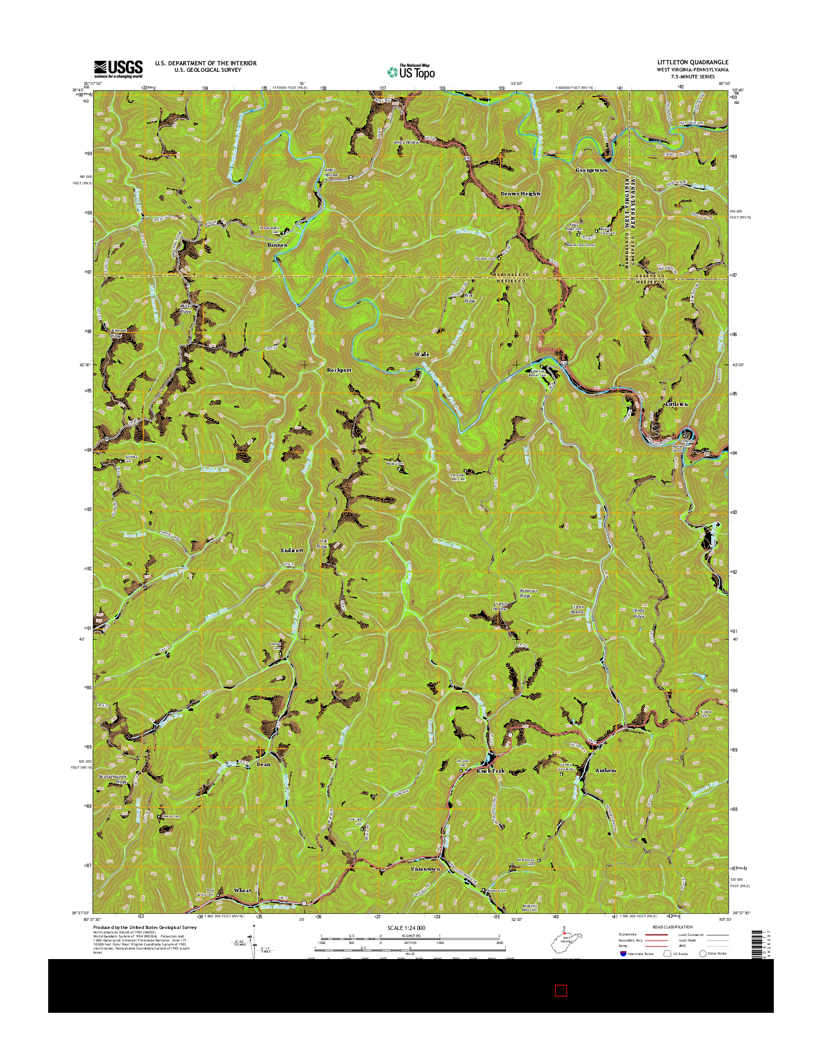 USGS US TOPO 7.5-MINUTE MAP FOR LITTLETON, WV-PA 2014