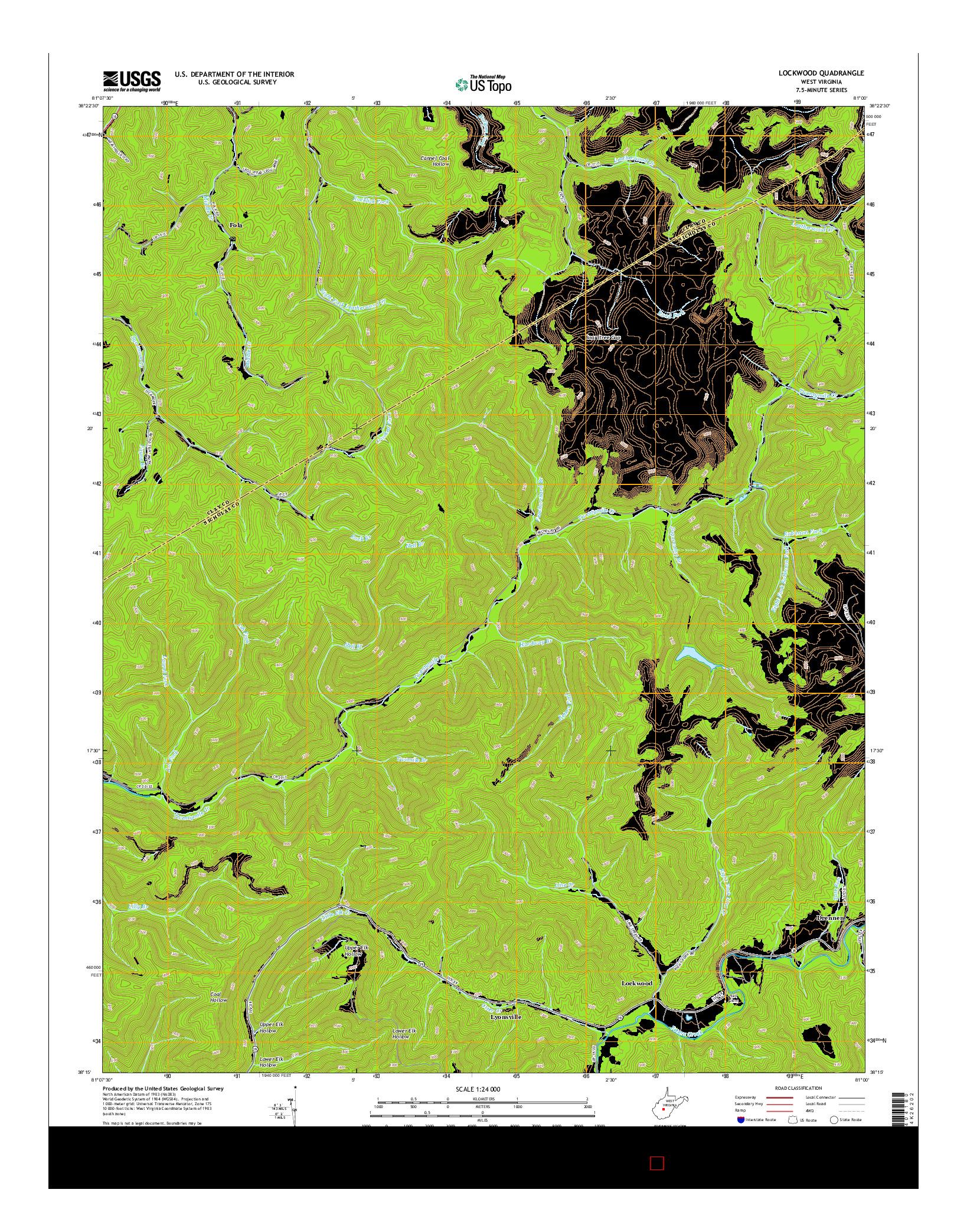 USGS US TOPO 7.5-MINUTE MAP FOR LOCKWOOD, WV 2014