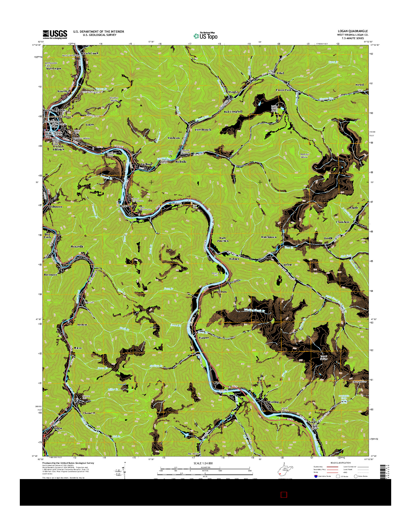 USGS US TOPO 7.5-MINUTE MAP FOR LOGAN, WV 2014