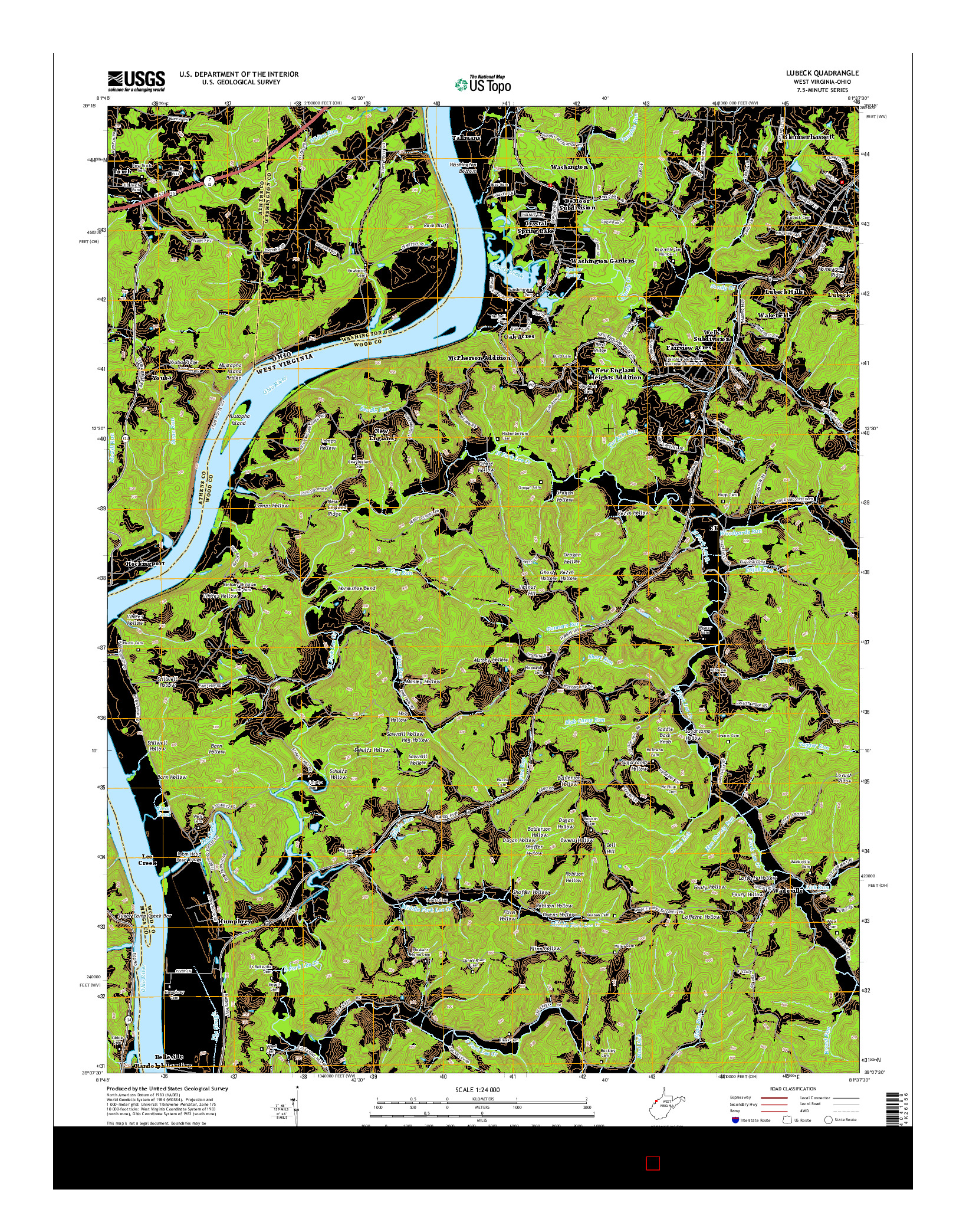 USGS US TOPO 7.5-MINUTE MAP FOR LUBECK, WV-OH 2014
