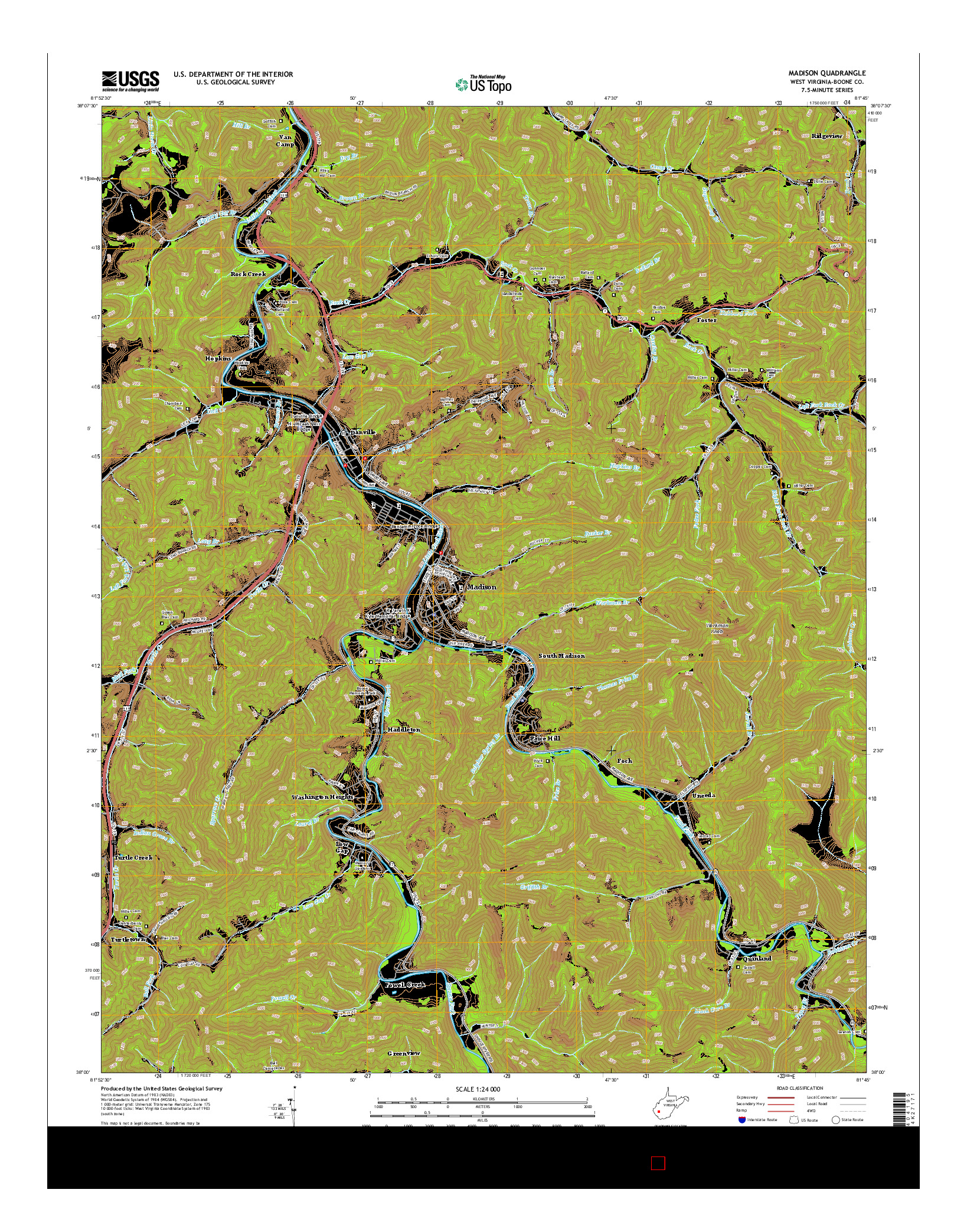 USGS US TOPO 7.5-MINUTE MAP FOR MADISON, WV 2014