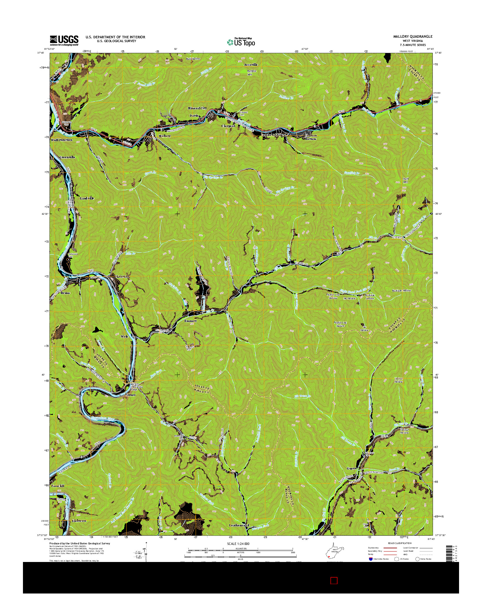 USGS US TOPO 7.5-MINUTE MAP FOR MALLORY, WV 2014