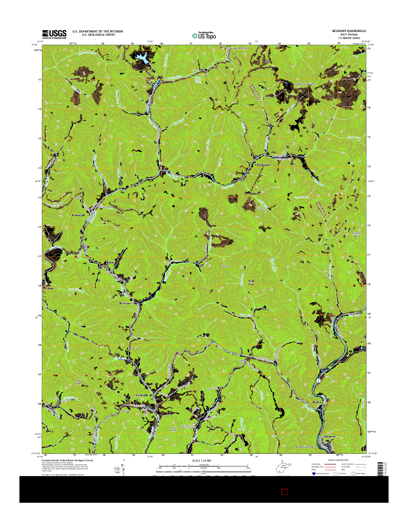 USGS US TOPO 7.5-MINUTE MAP FOR MCGRAWS, WV 2014