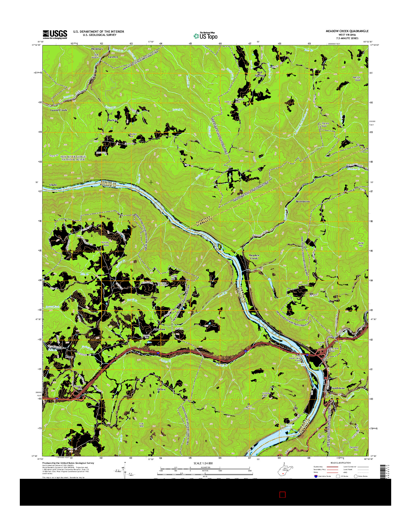 USGS US TOPO 7.5-MINUTE MAP FOR MEADOW CREEK, WV 2014