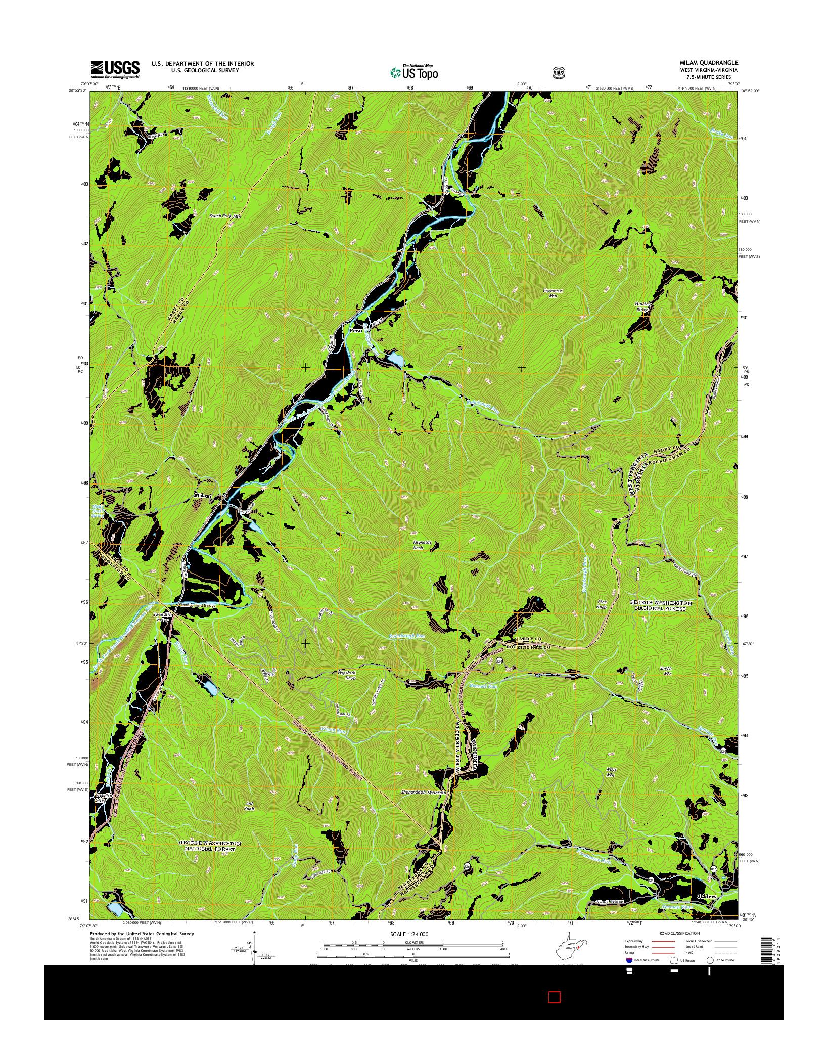 USGS US TOPO 7.5-MINUTE MAP FOR MILAM, WV-VA 2014