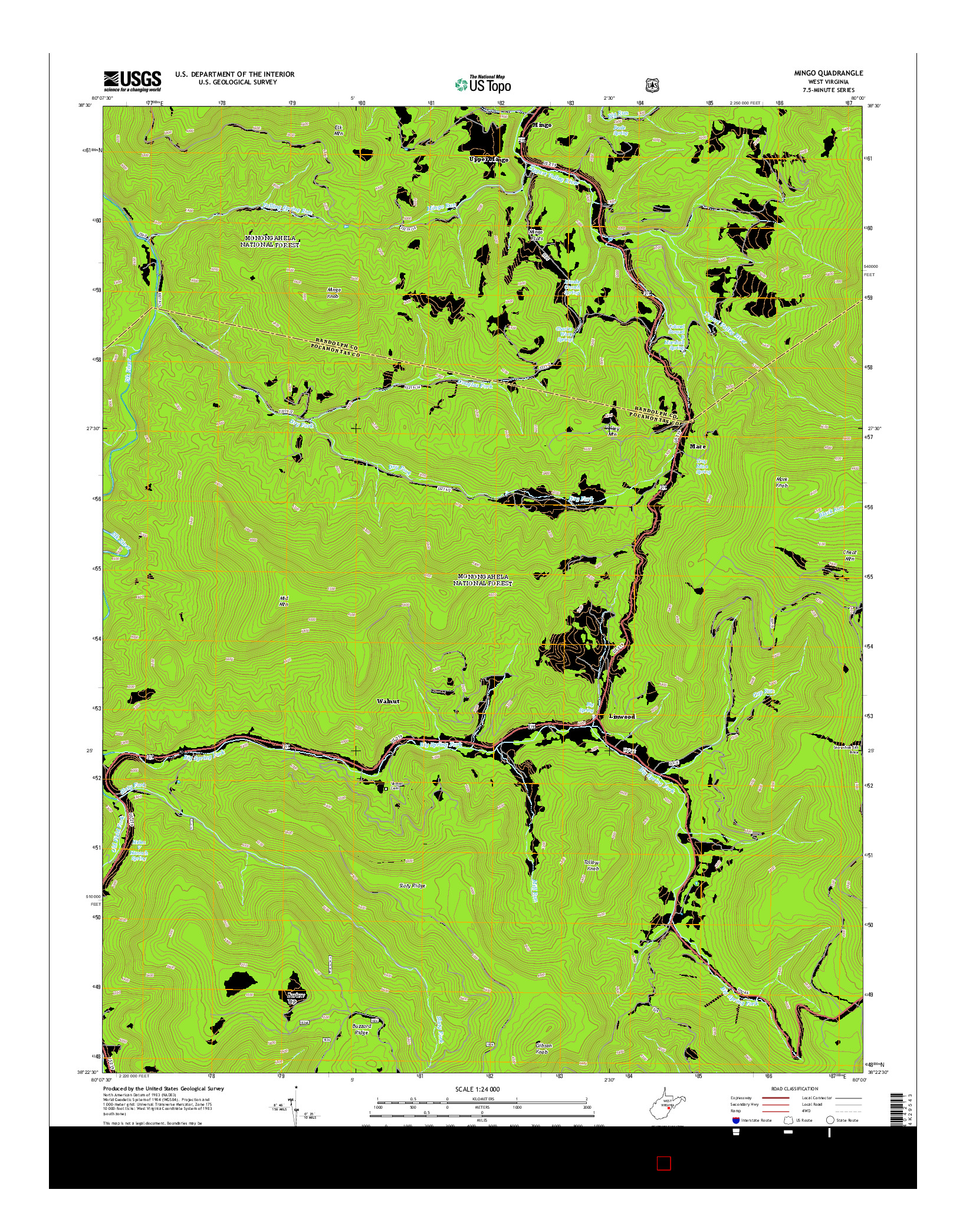 USGS US TOPO 7.5-MINUTE MAP FOR MINGO, WV 2014
