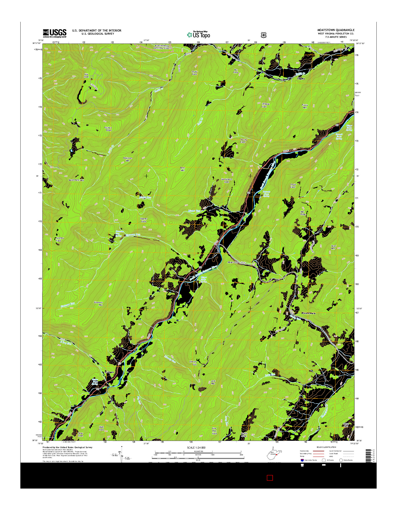 USGS US TOPO 7.5-MINUTE MAP FOR MOATSTOWN, WV 2014