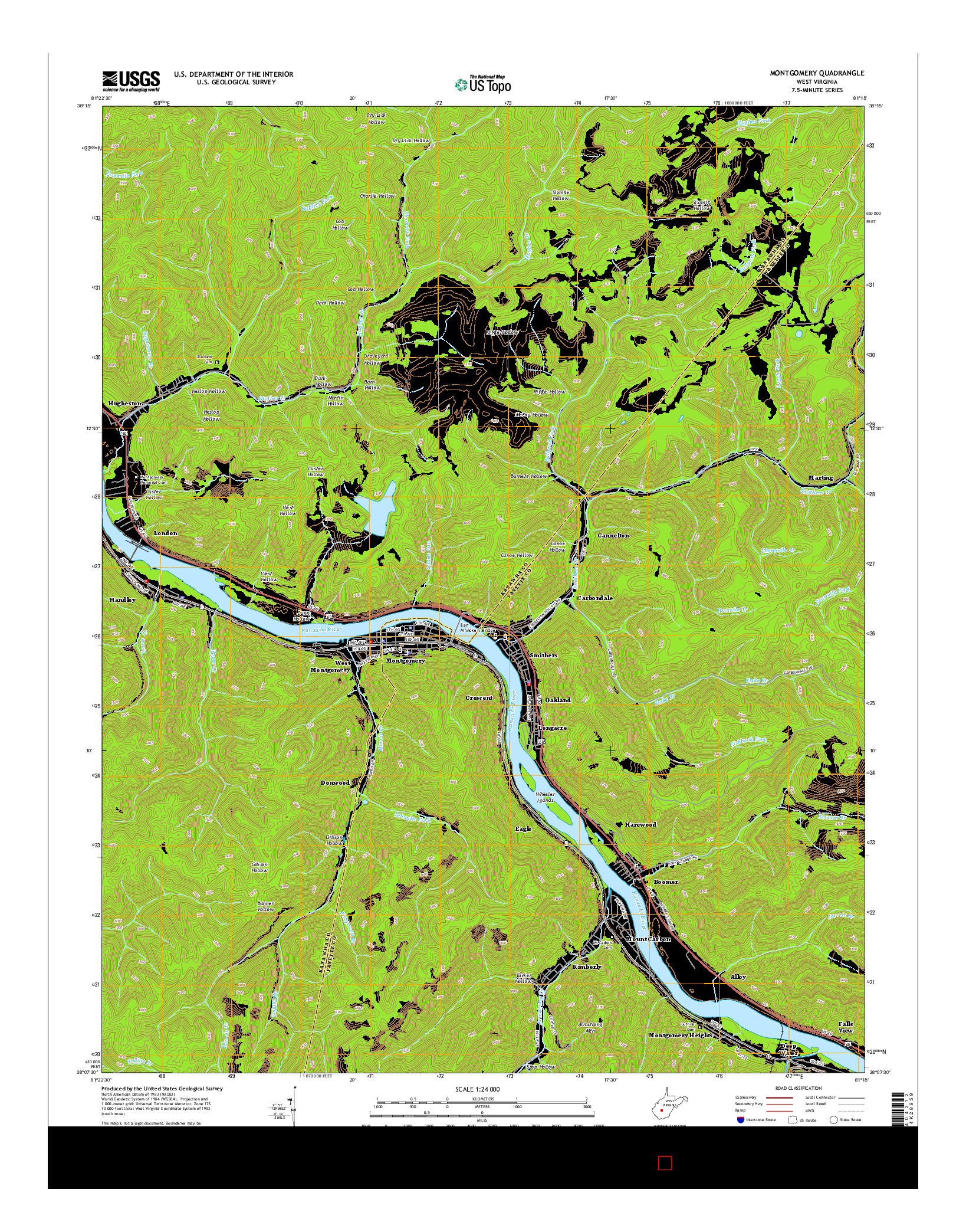 USGS US TOPO 7.5-MINUTE MAP FOR MONTGOMERY, WV 2014