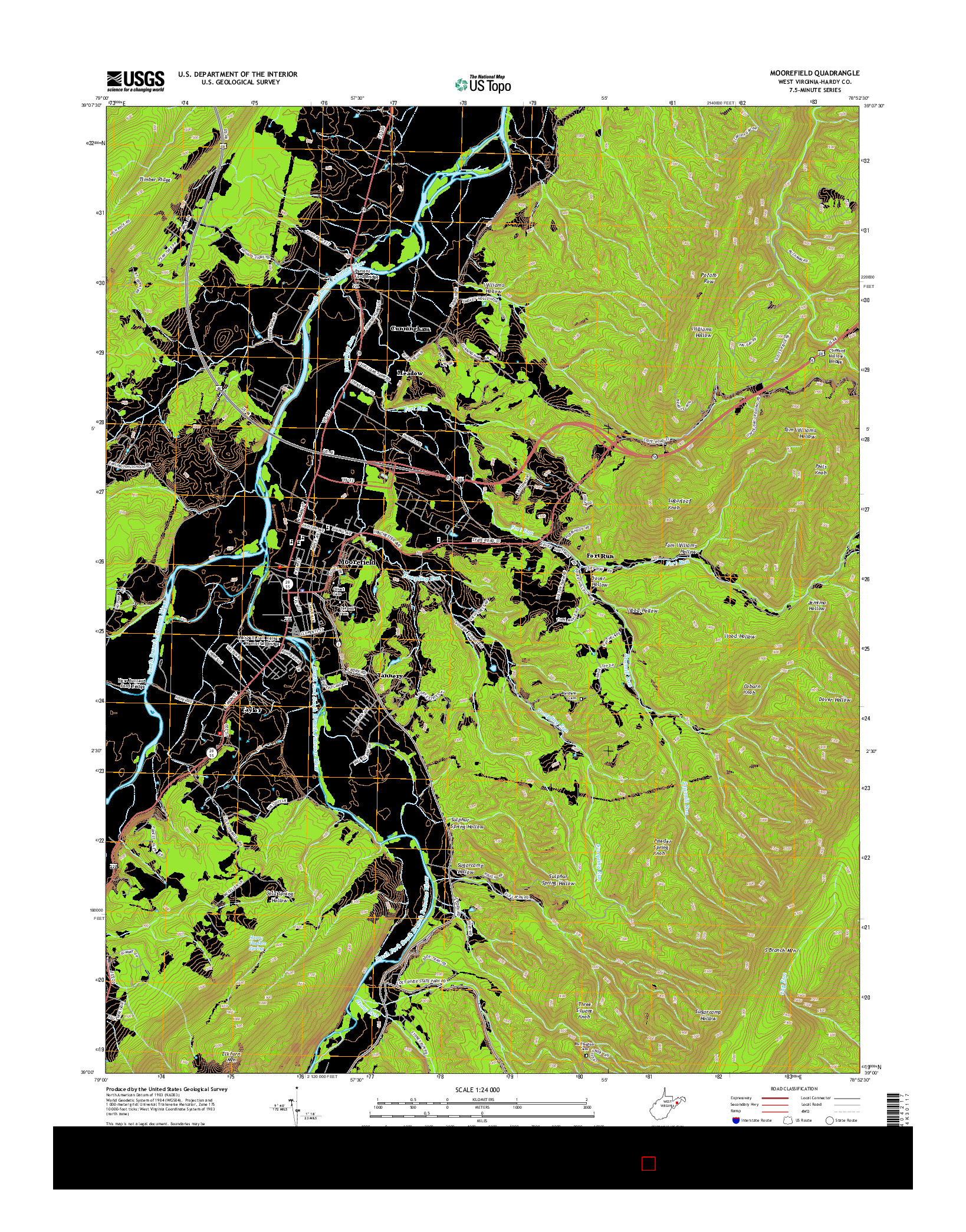 USGS US TOPO 7.5-MINUTE MAP FOR MOOREFIELD, WV 2014