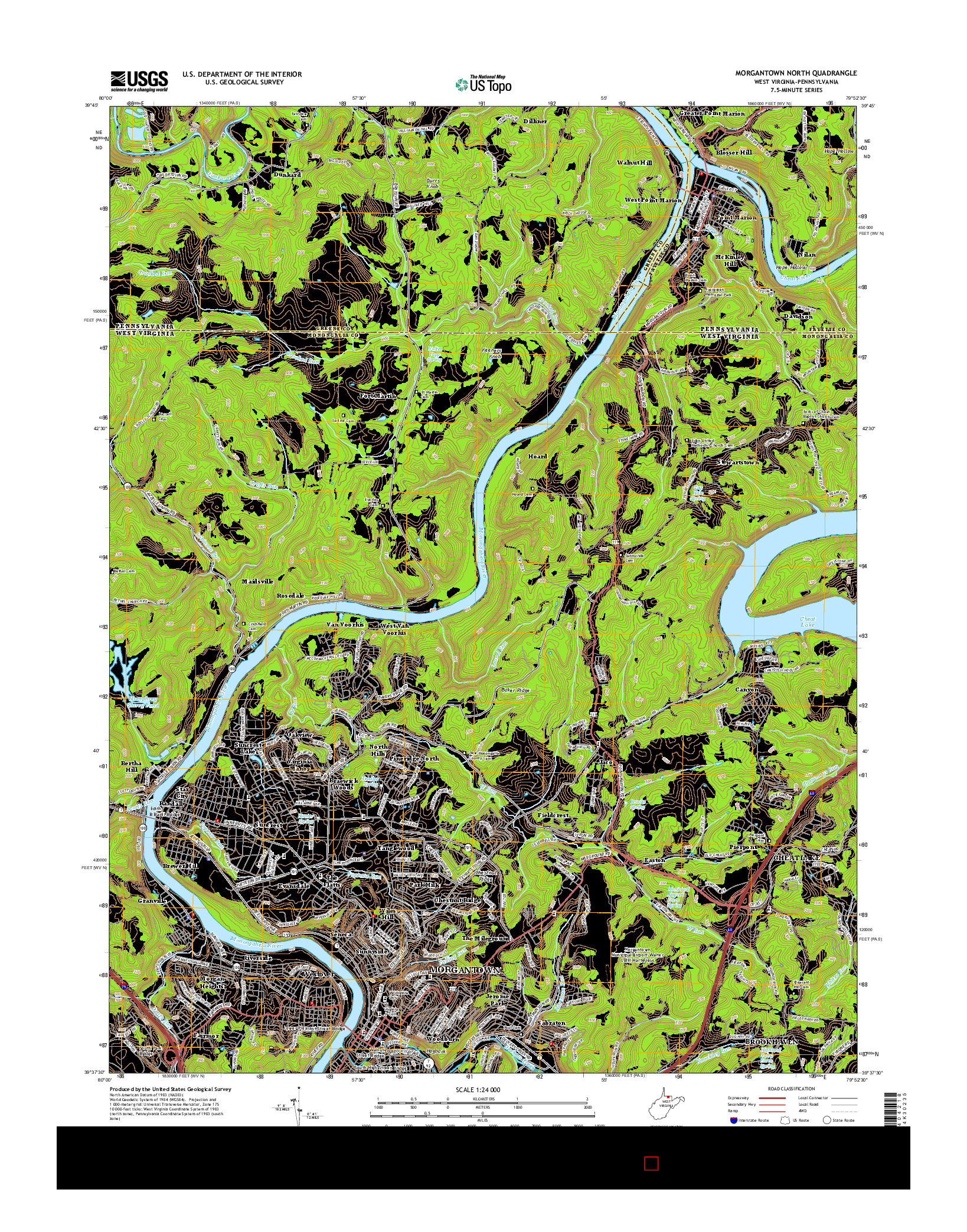 USGS US TOPO 7.5-MINUTE MAP FOR MORGANTOWN NORTH, WV-PA 2014