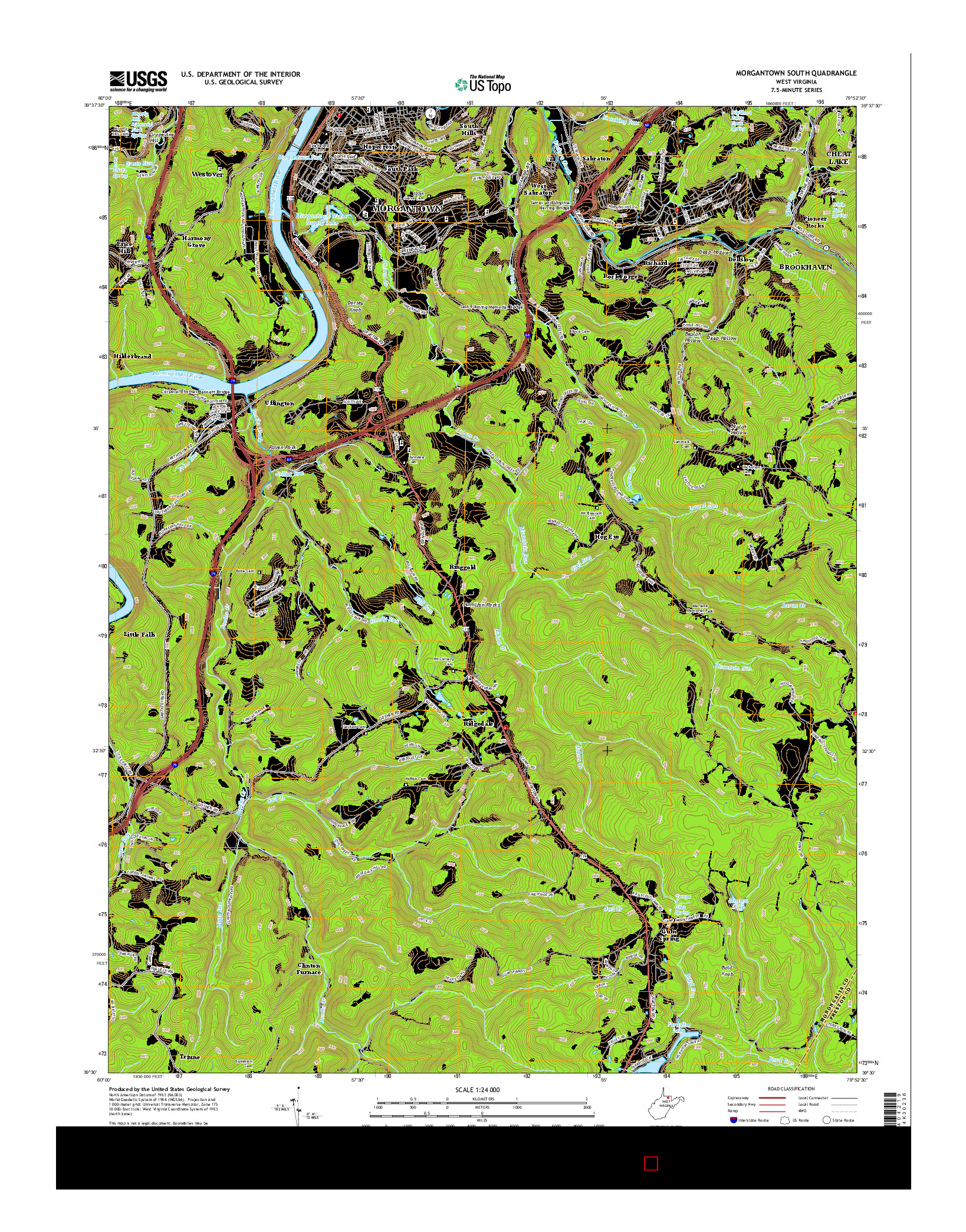 USGS US TOPO 7.5-MINUTE MAP FOR MORGANTOWN SOUTH, WV 2014