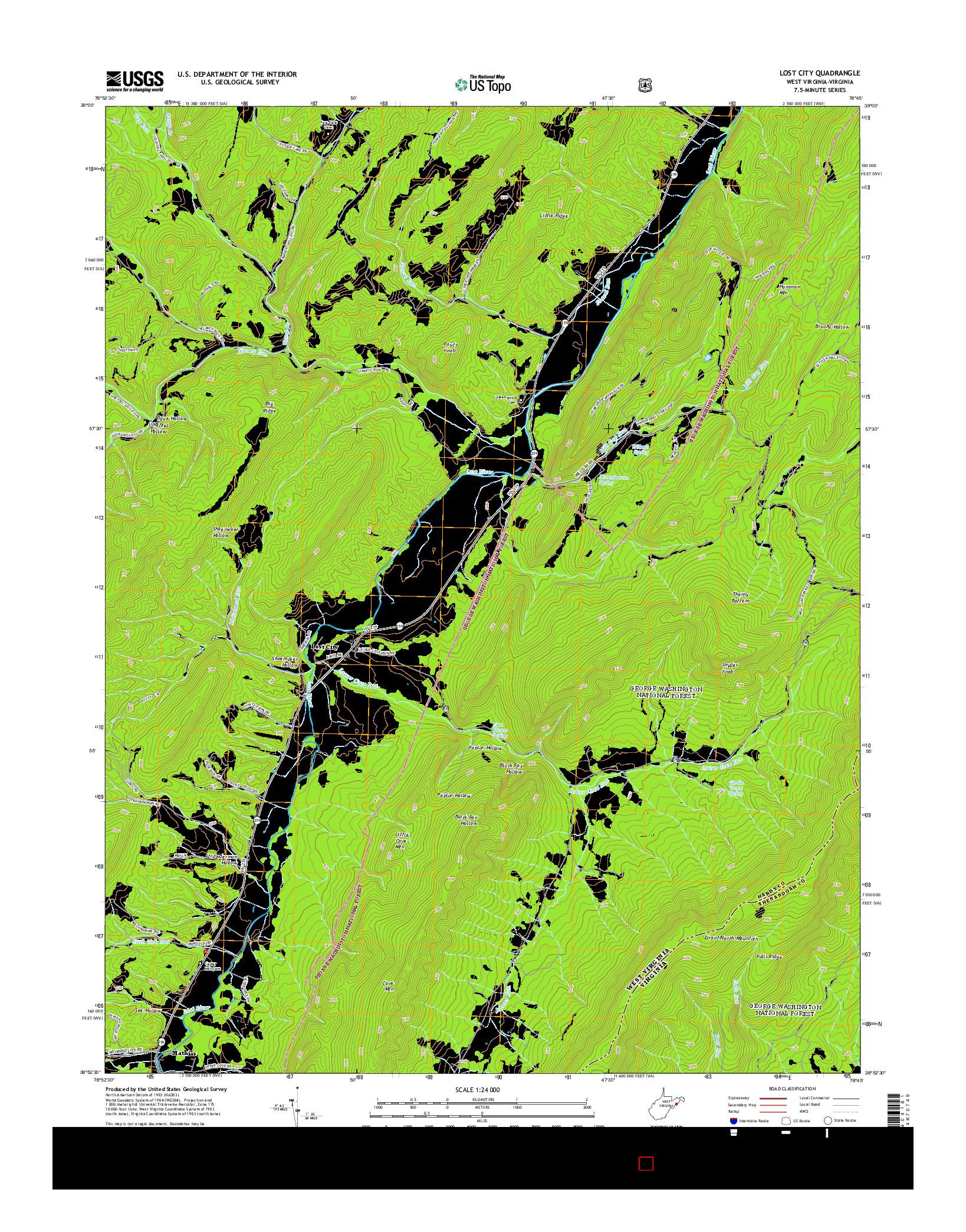 USGS US TOPO 7.5-MINUTE MAP FOR LOST CITY, WV-VA 2014