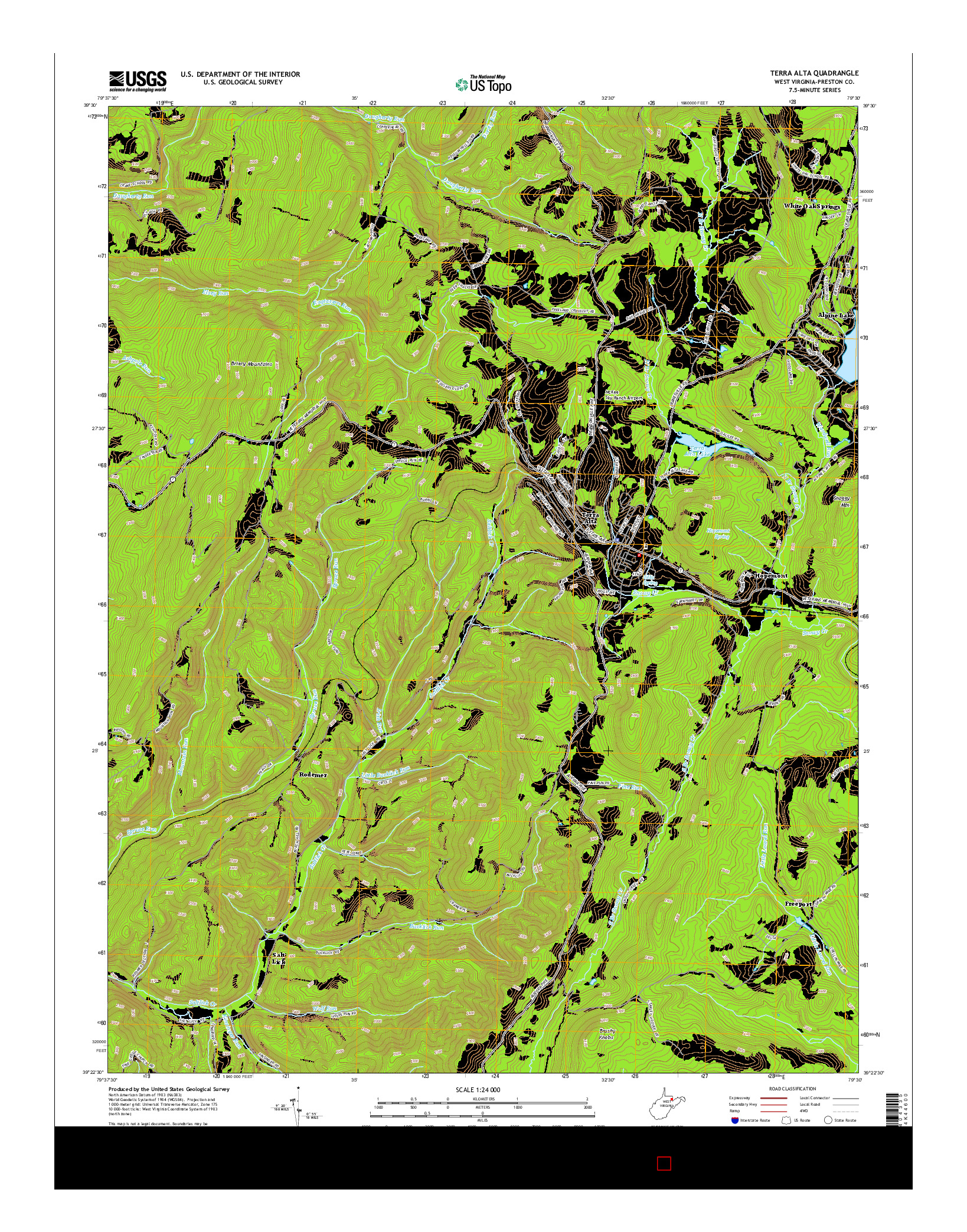 USGS US TOPO 7.5-MINUTE MAP FOR TERRA ALTA, WV 2014