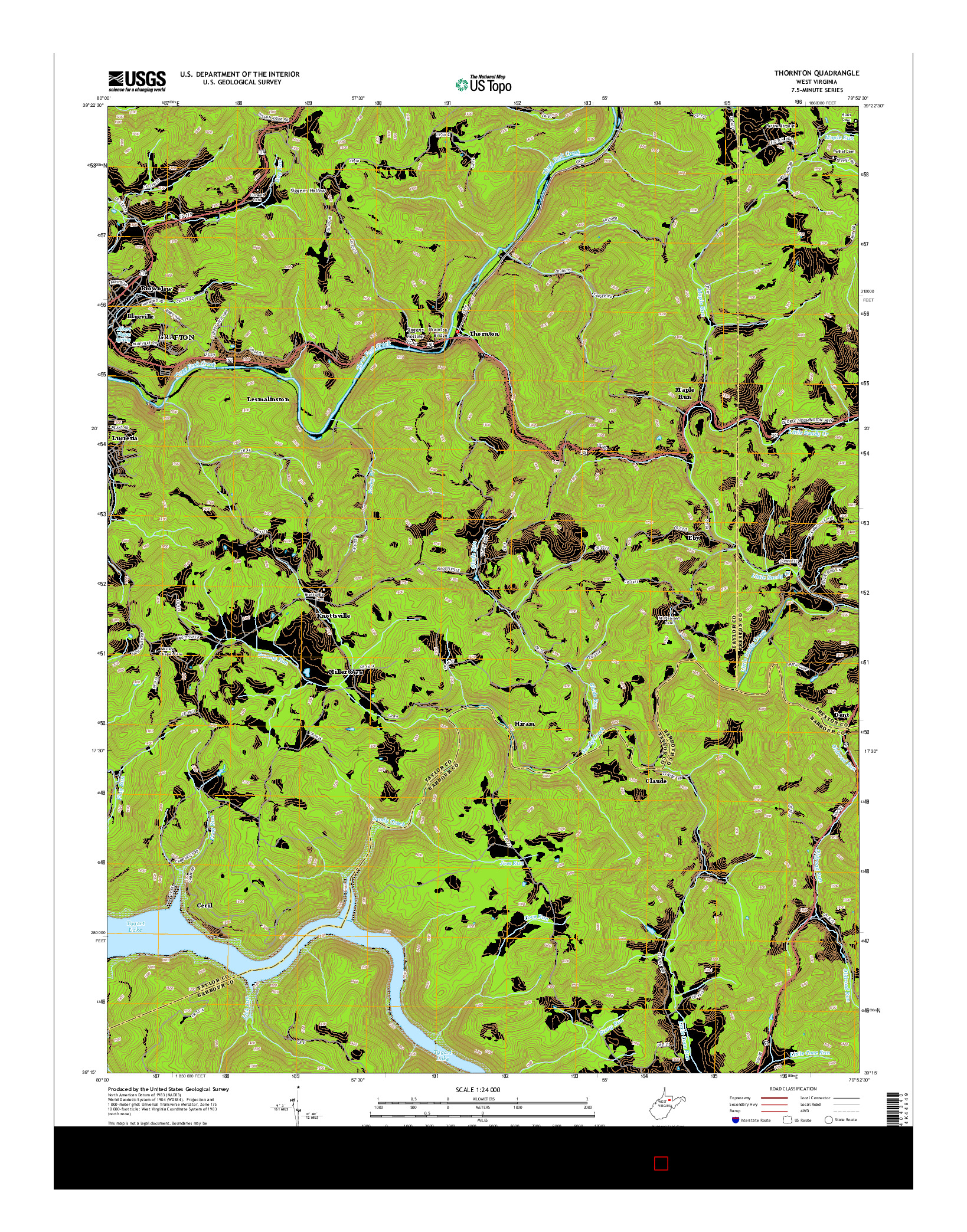 USGS US TOPO 7.5-MINUTE MAP FOR THORNTON, WV 2014