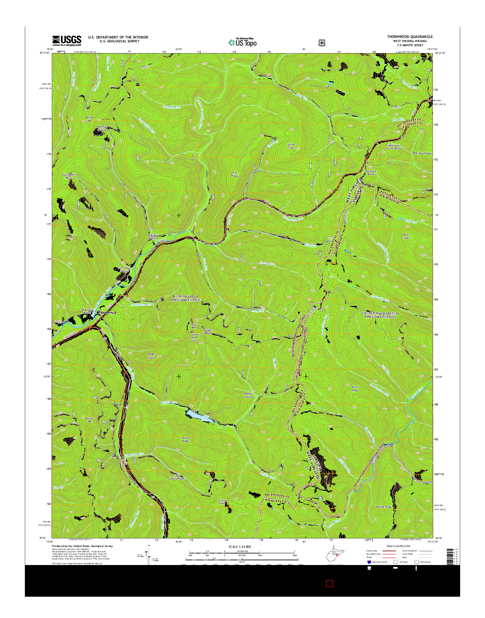 USGS US TOPO 7.5-MINUTE MAP FOR THORNWOOD, WV-VA 2014