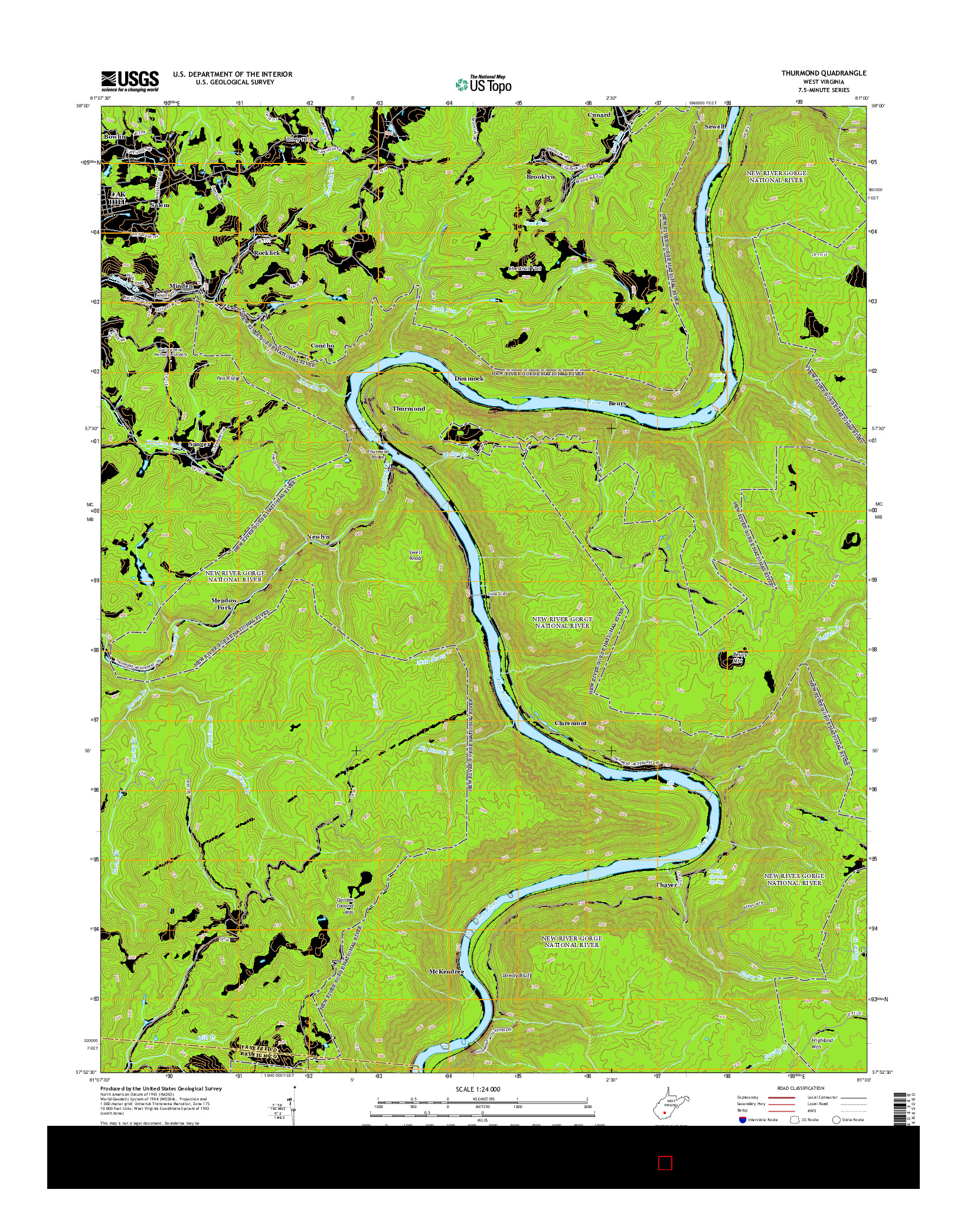 USGS US TOPO 7.5-MINUTE MAP FOR THURMOND, WV 2014