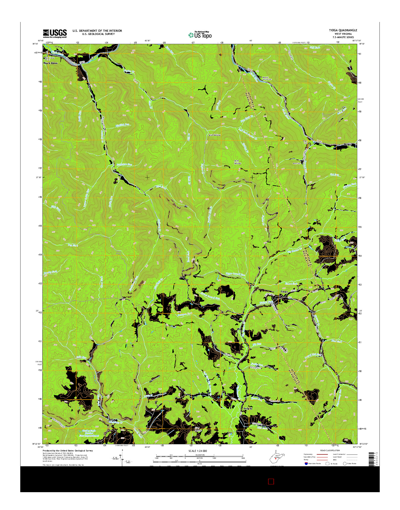 USGS US TOPO 7.5-MINUTE MAP FOR TIOGA, WV 2014
