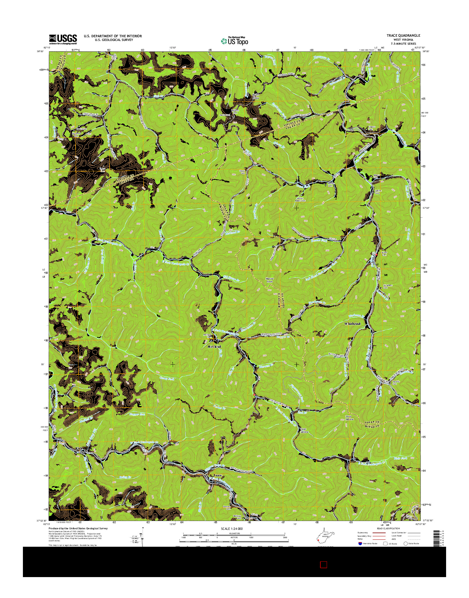 USGS US TOPO 7.5-MINUTE MAP FOR TRACE, WV 2014