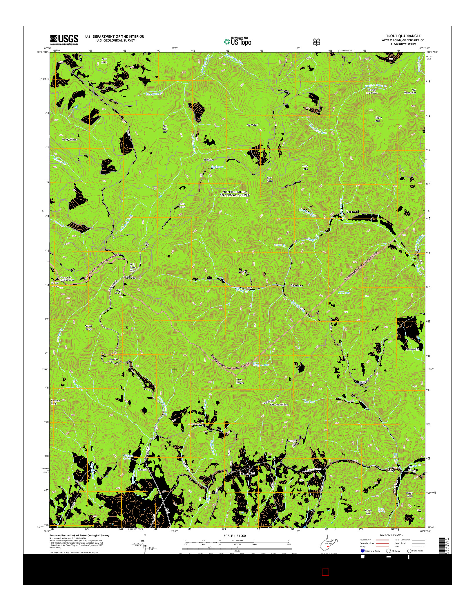 USGS US TOPO 7.5-MINUTE MAP FOR TROUT, WV 2014