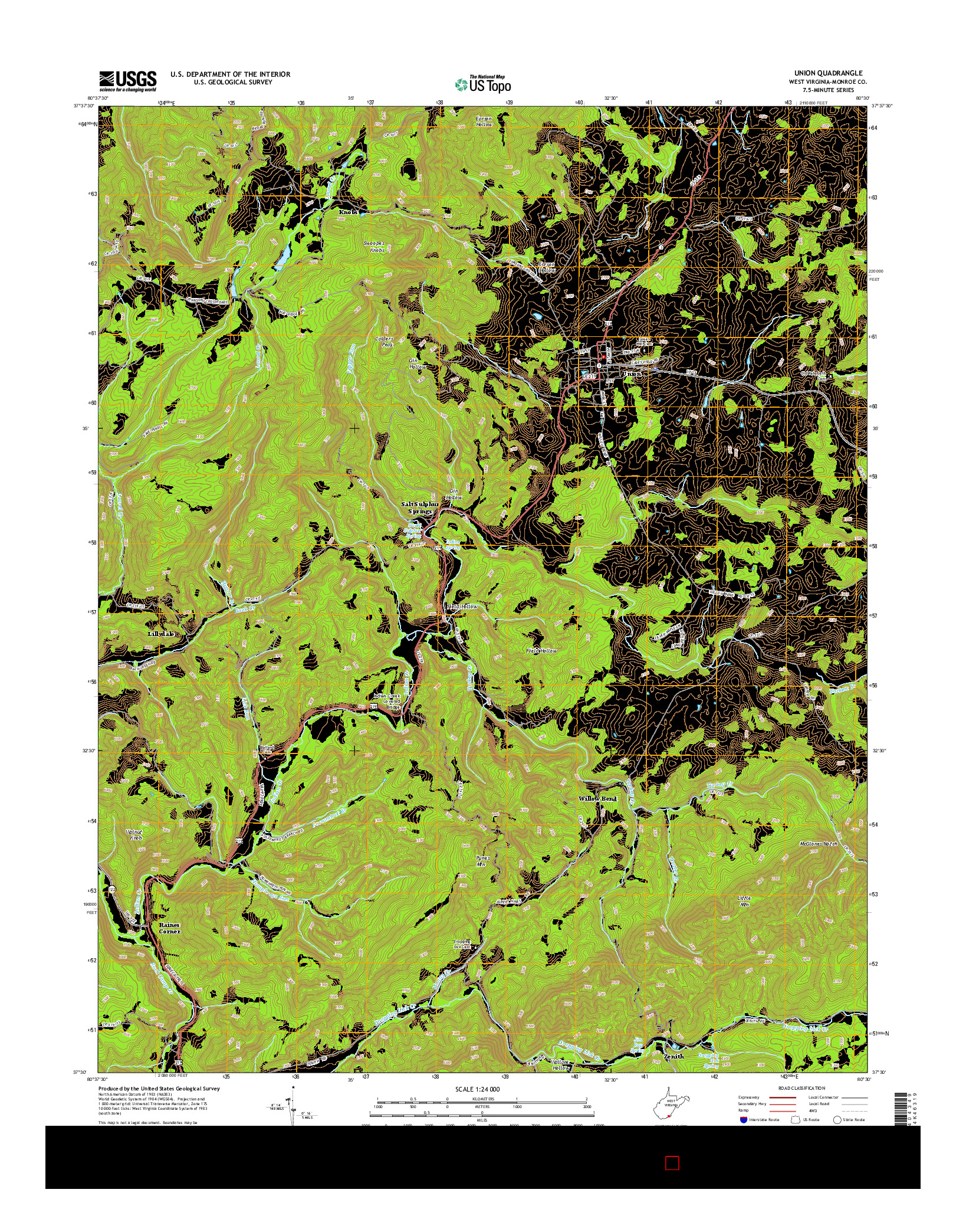 USGS US TOPO 7.5-MINUTE MAP FOR UNION, WV 2014