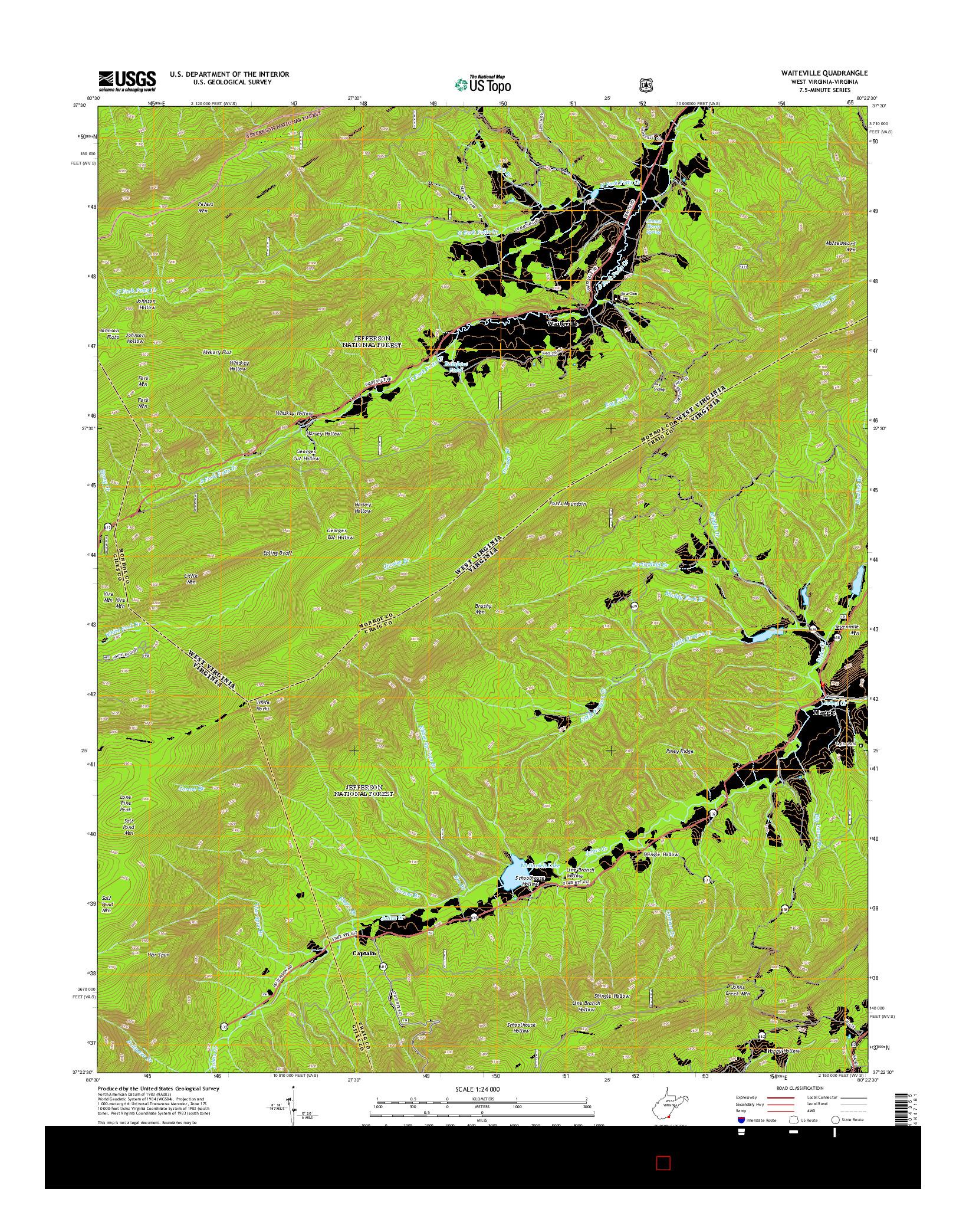 USGS US TOPO 7.5-MINUTE MAP FOR WAITEVILLE, WV-VA 2014