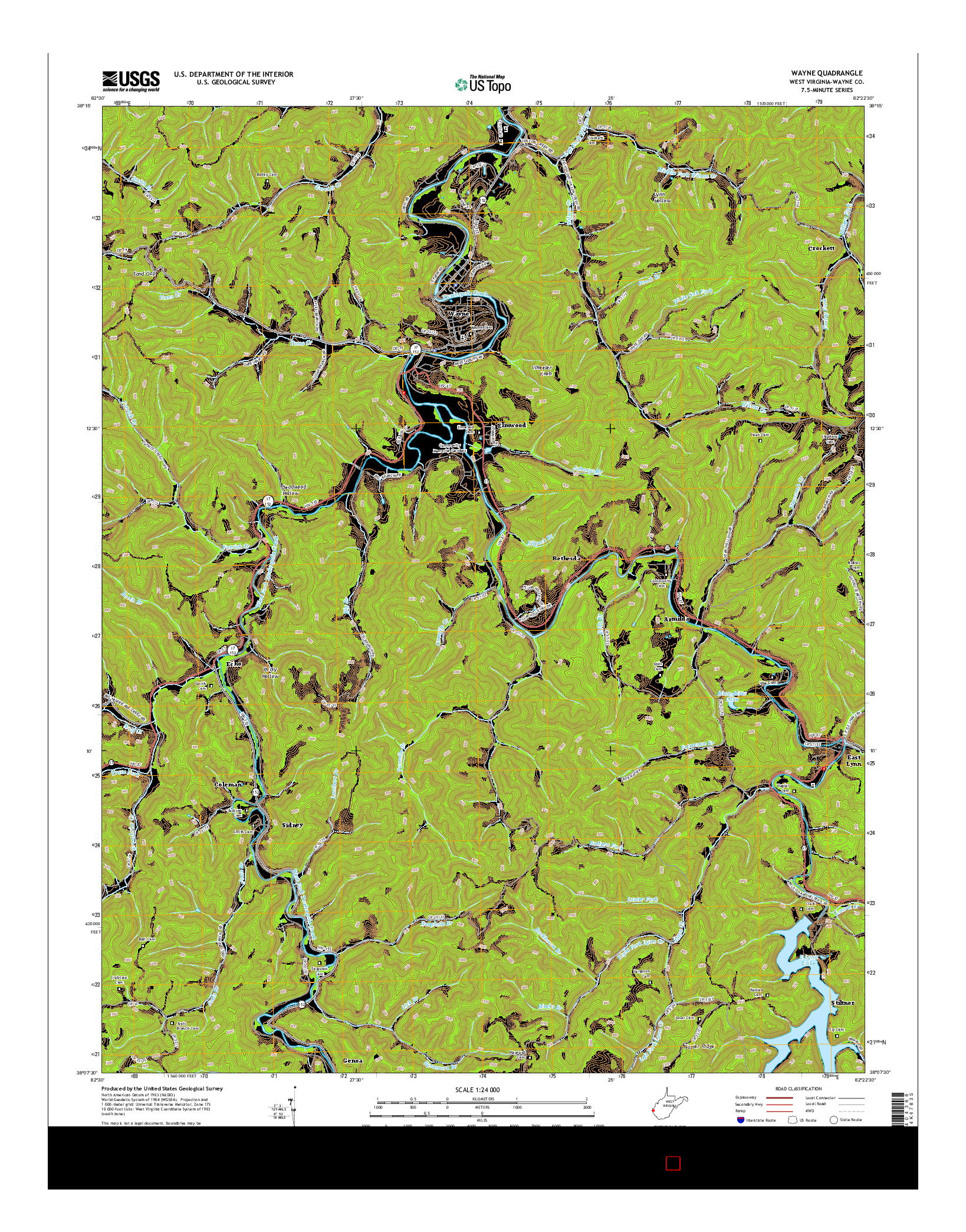 USGS US TOPO 7.5-MINUTE MAP FOR WAYNE, WV 2014