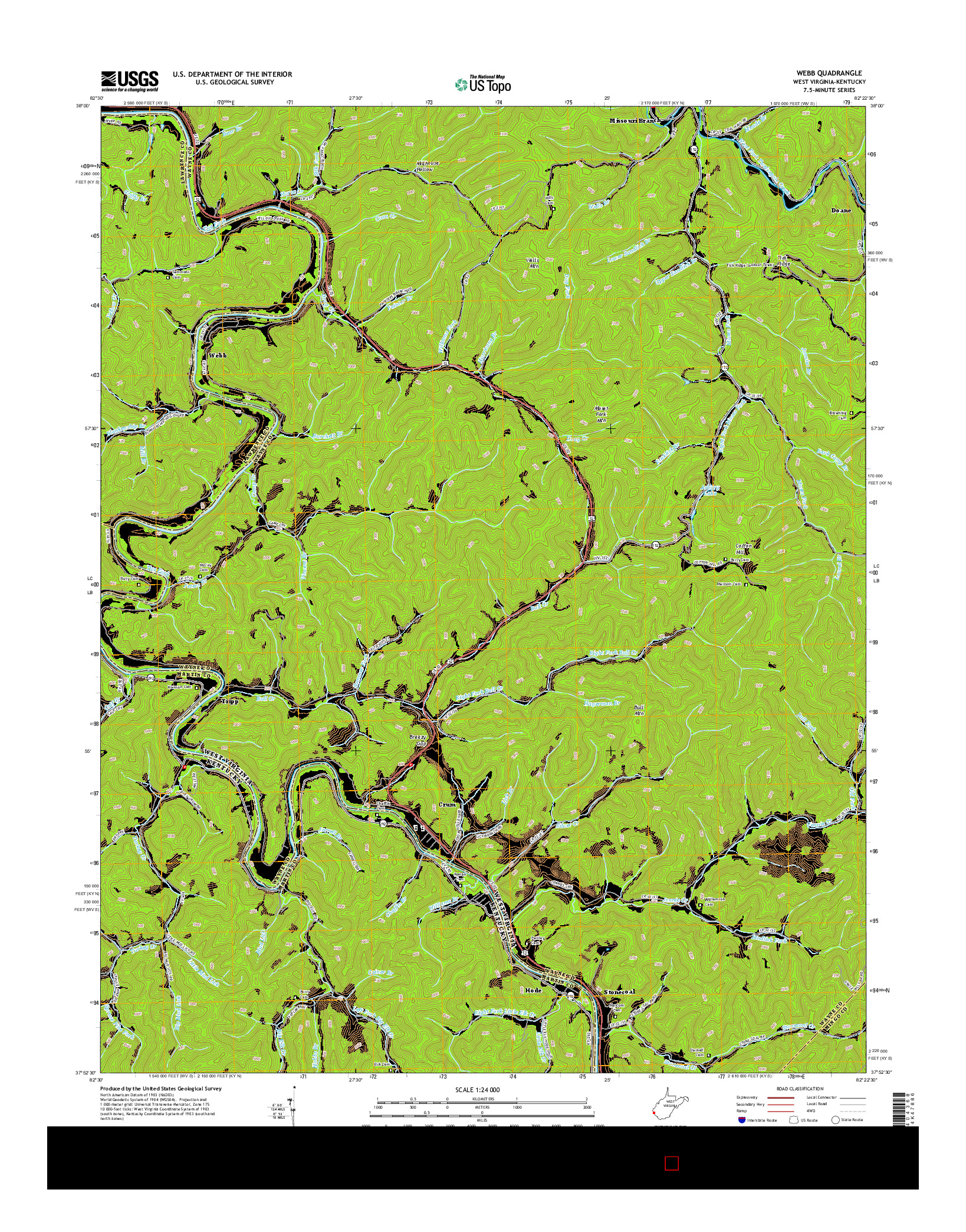 USGS US TOPO 7.5-MINUTE MAP FOR WEBB, WV-KY 2014