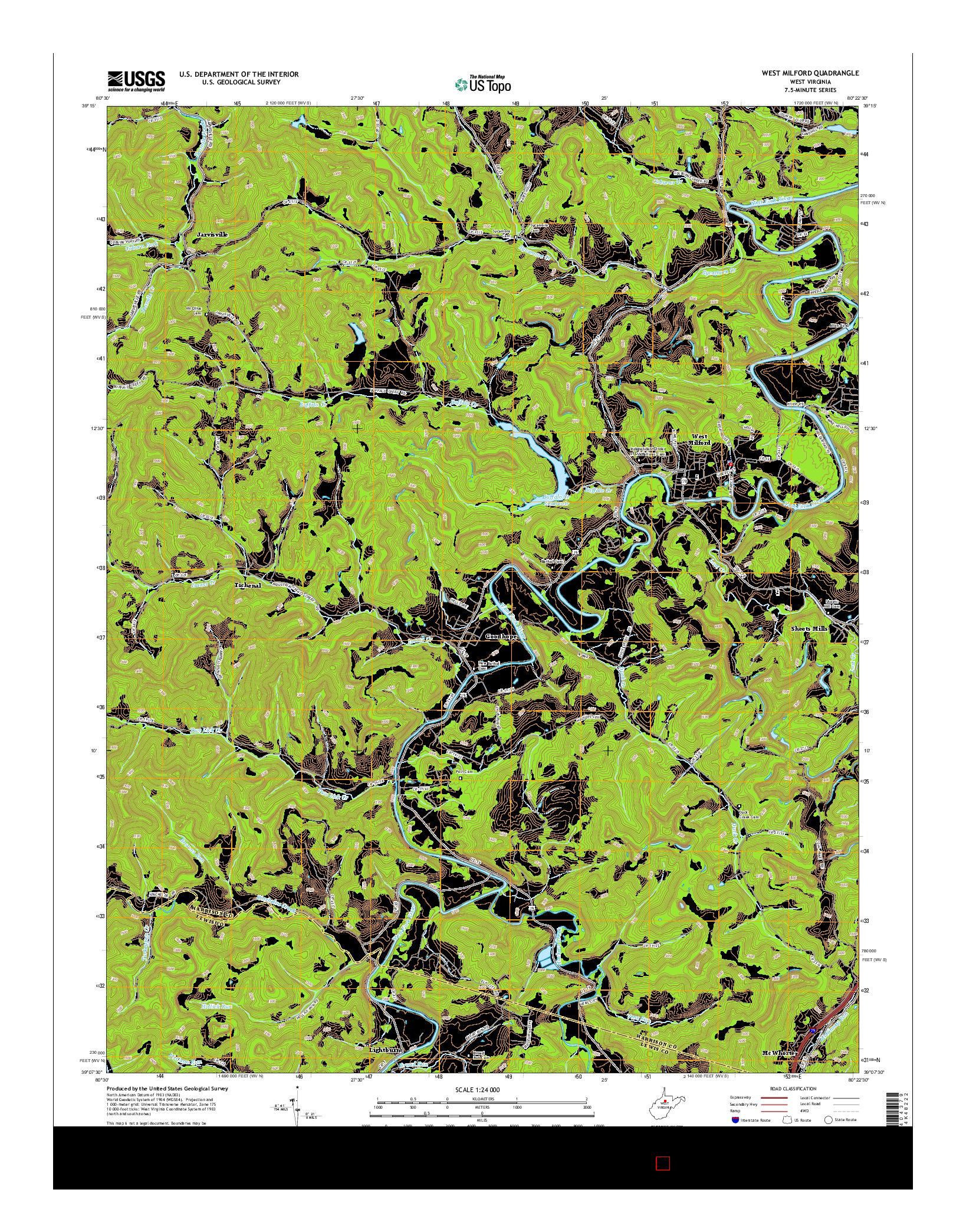 USGS US TOPO 7.5-MINUTE MAP FOR WEST MILFORD, WV 2014