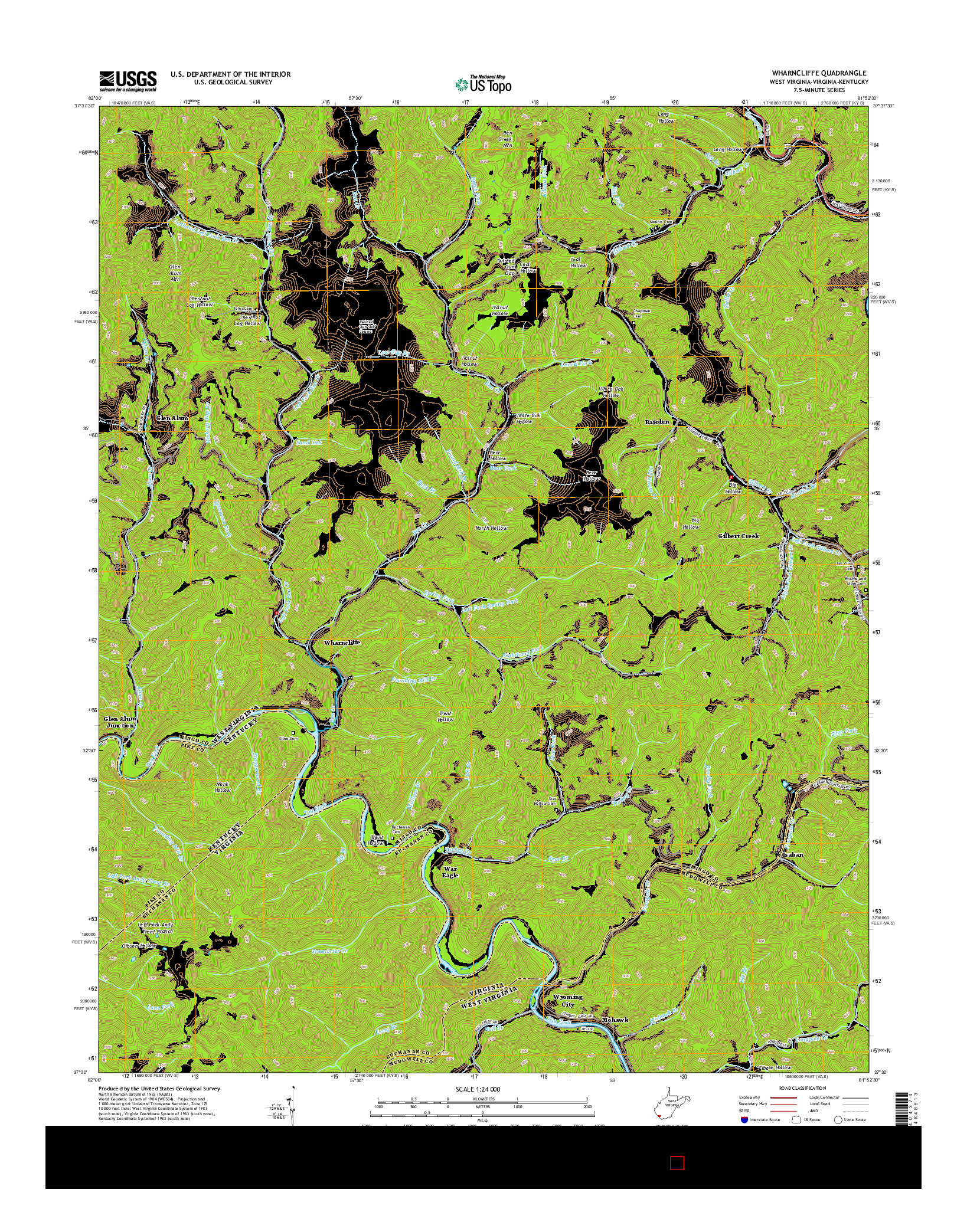 USGS US TOPO 7.5-MINUTE MAP FOR WHARNCLIFFE, WV-VA-KY 2014