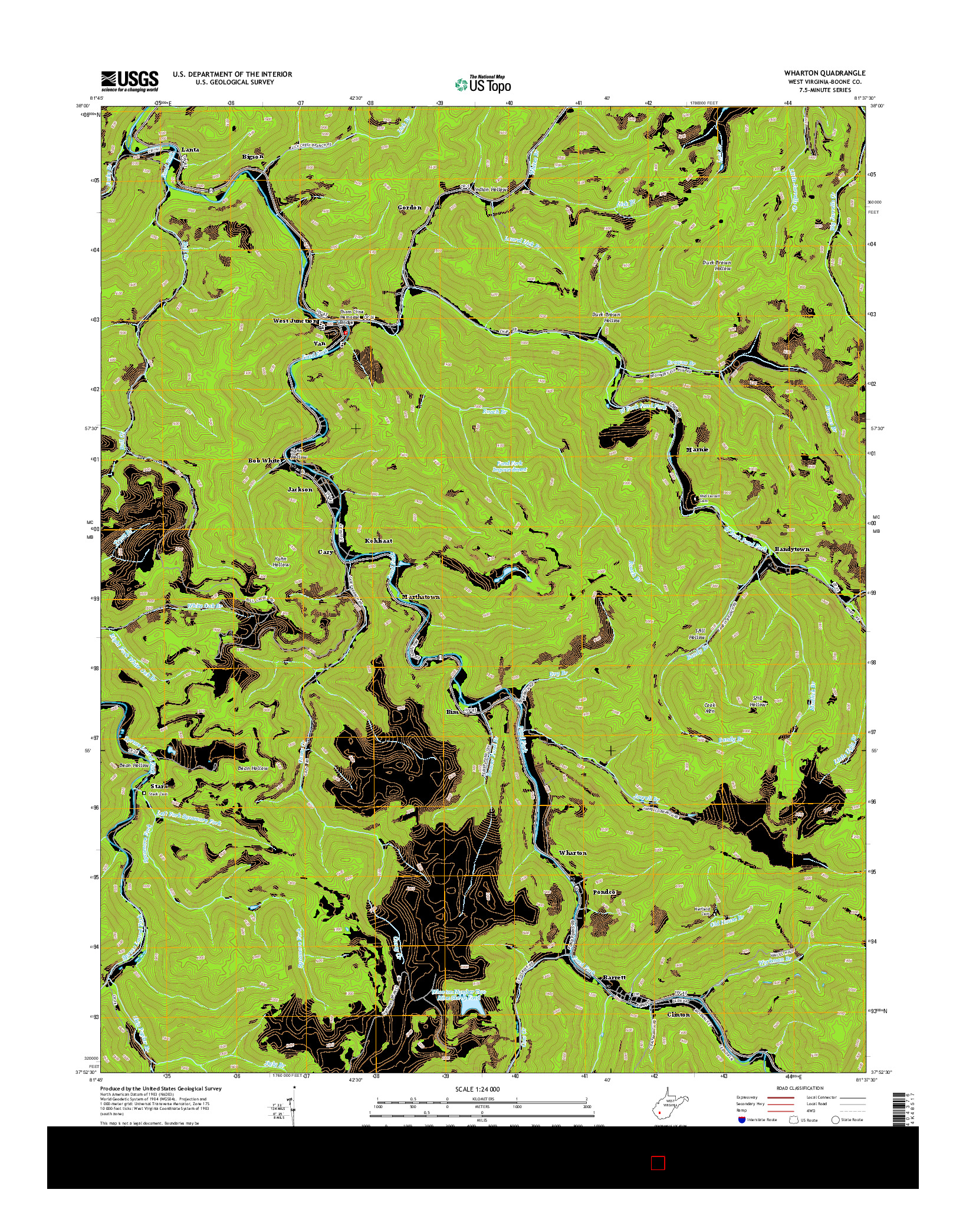 USGS US TOPO 7.5-MINUTE MAP FOR WHARTON, WV 2014