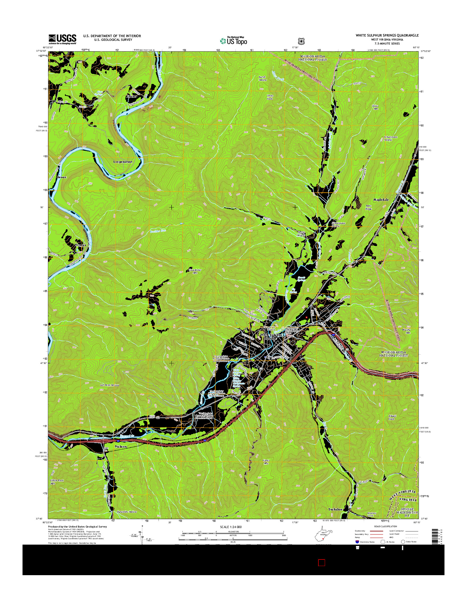 USGS US TOPO 7.5-MINUTE MAP FOR WHITE SULPHUR SPRINGS, WV-VA 2014