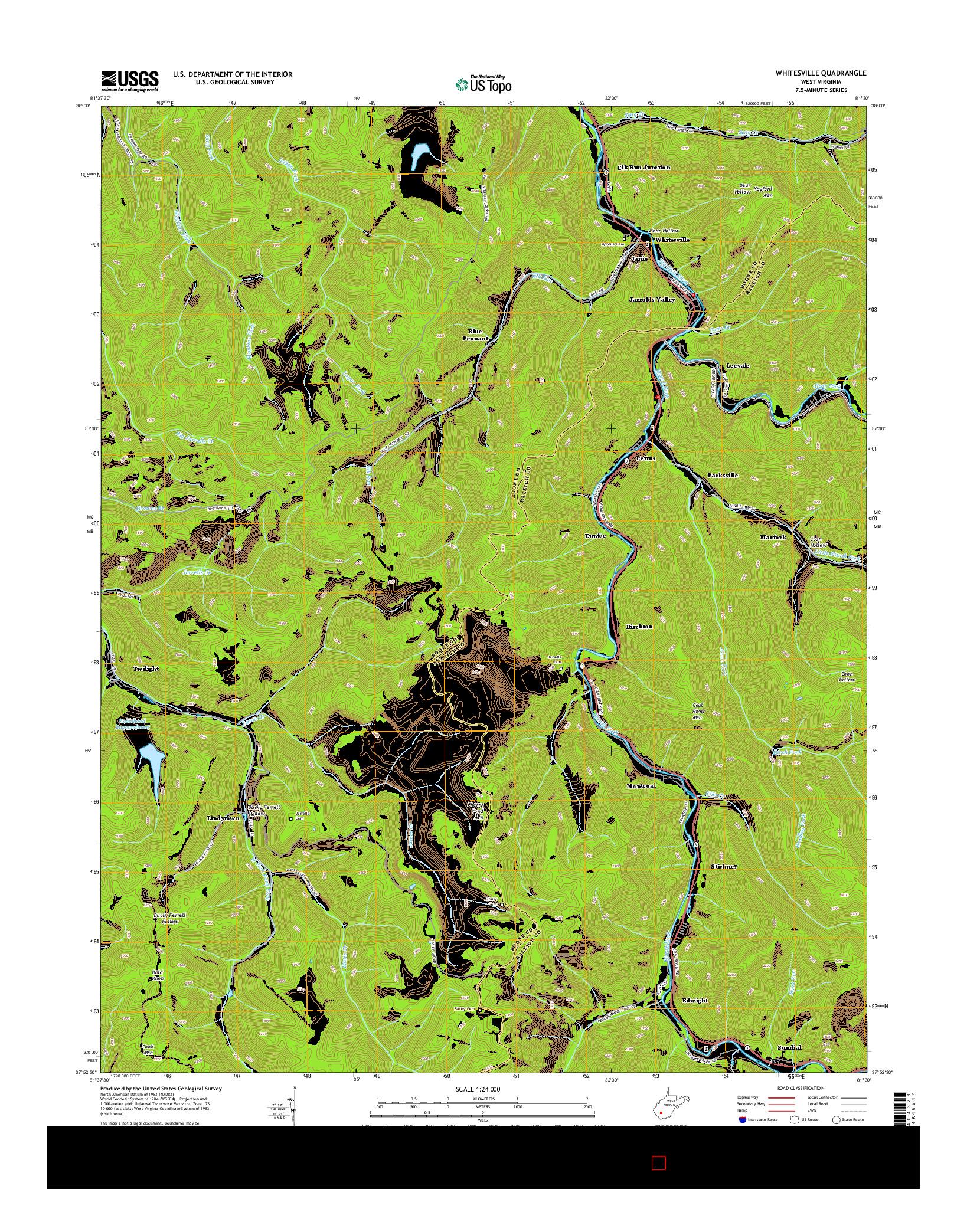 USGS US TOPO 7.5-MINUTE MAP FOR WHITESVILLE, WV 2014