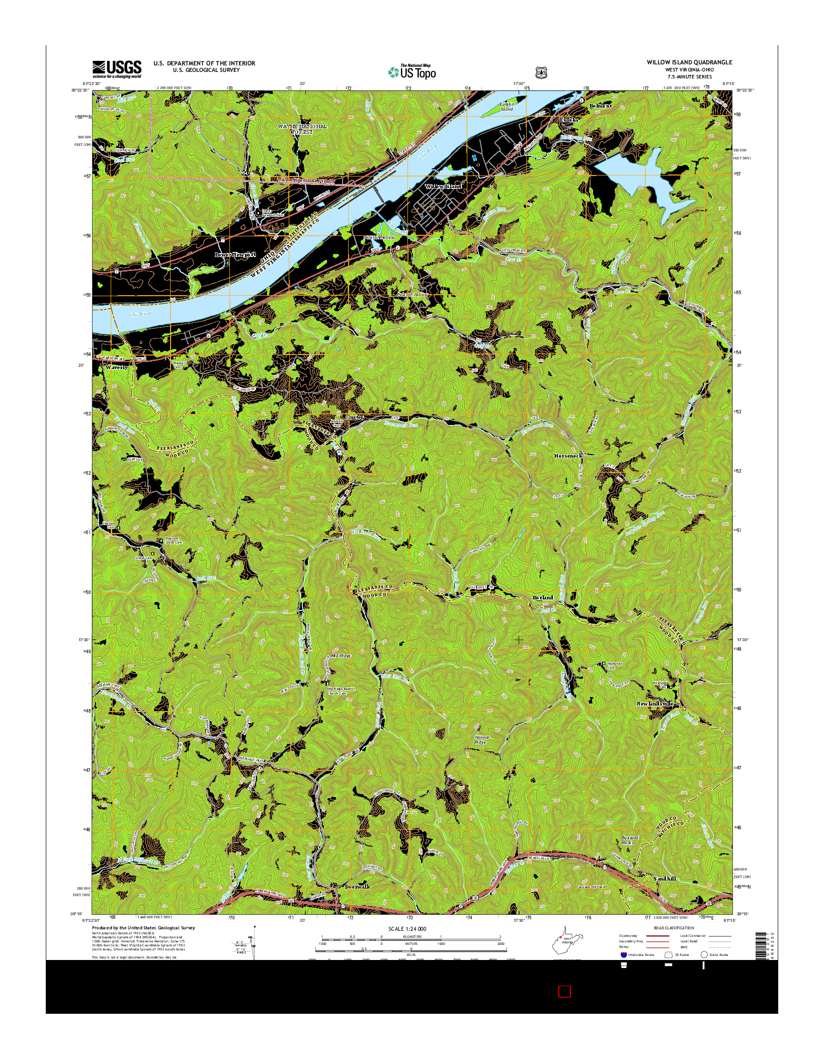 USGS US TOPO 7.5-MINUTE MAP FOR WILLOW ISLAND, WV-OH 2014