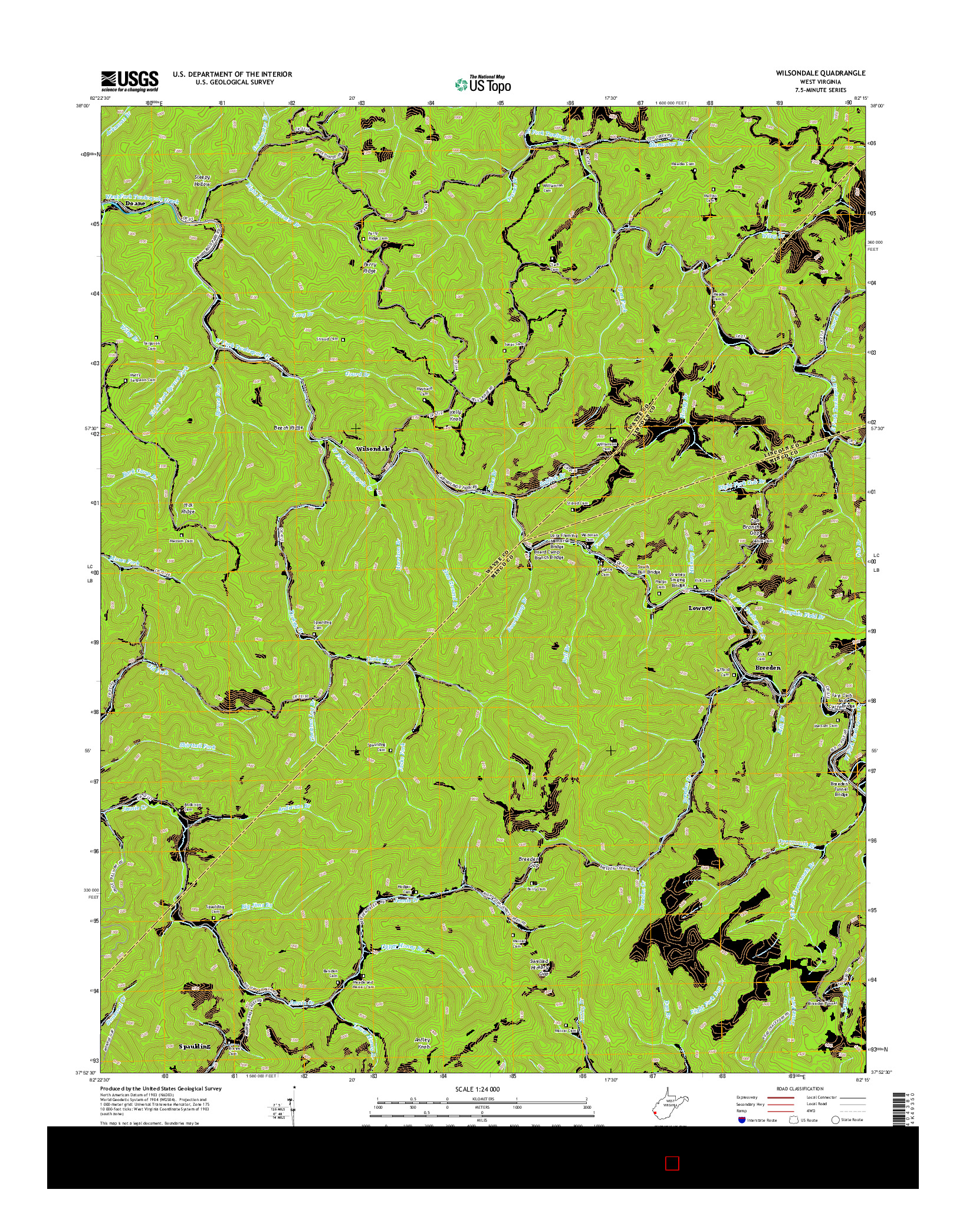 USGS US TOPO 7.5-MINUTE MAP FOR WILSONDALE, WV 2014