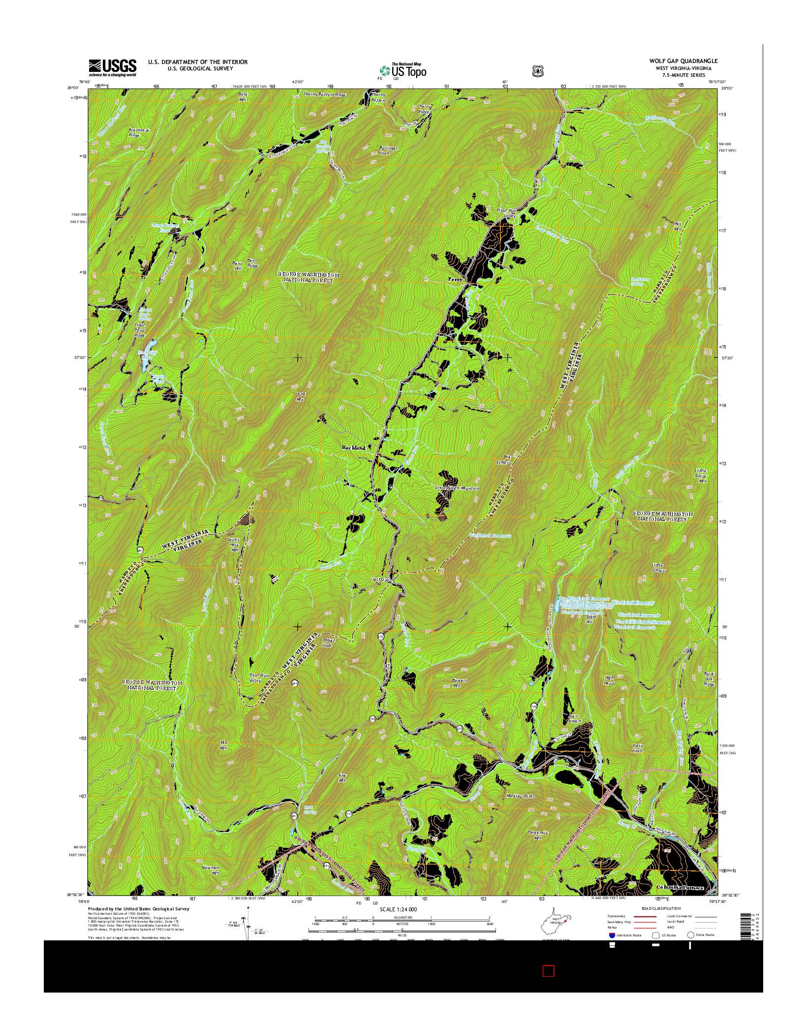 USGS US TOPO 7.5-MINUTE MAP FOR WOLF GAP, WV-VA 2014