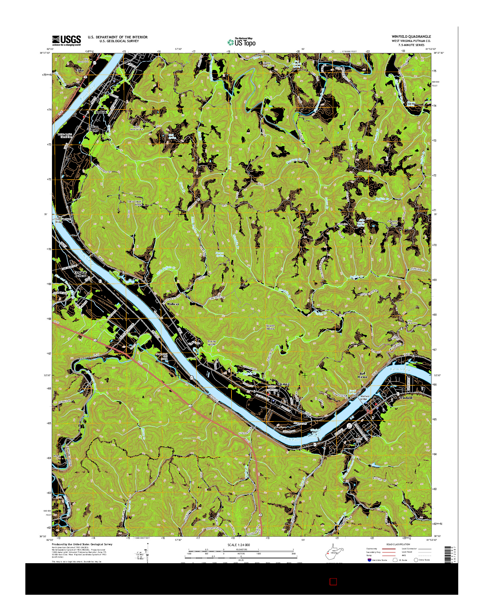 USGS US TOPO 7.5-MINUTE MAP FOR WINFIELD, WV 2014