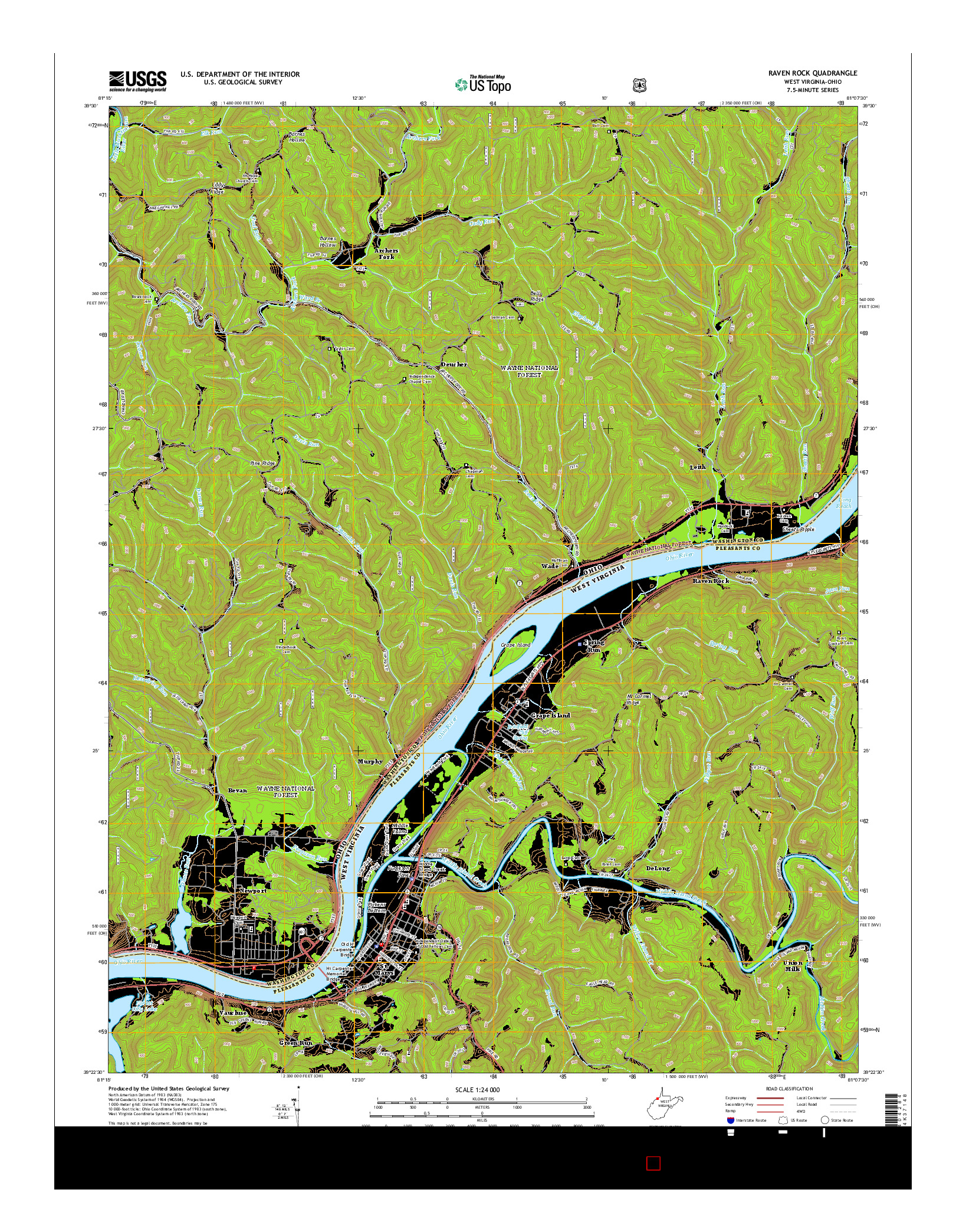 USGS US TOPO 7.5-MINUTE MAP FOR RAVEN ROCK, WV-OH 2014