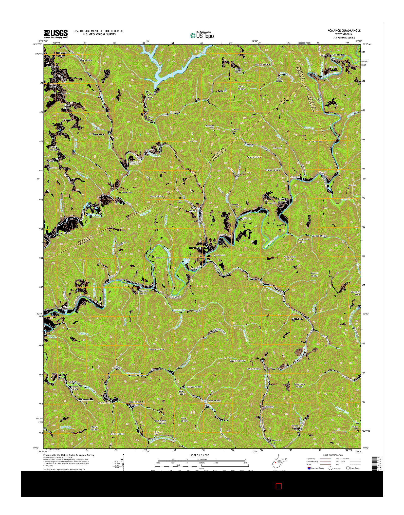 USGS US TOPO 7.5-MINUTE MAP FOR ROMANCE, WV 2014