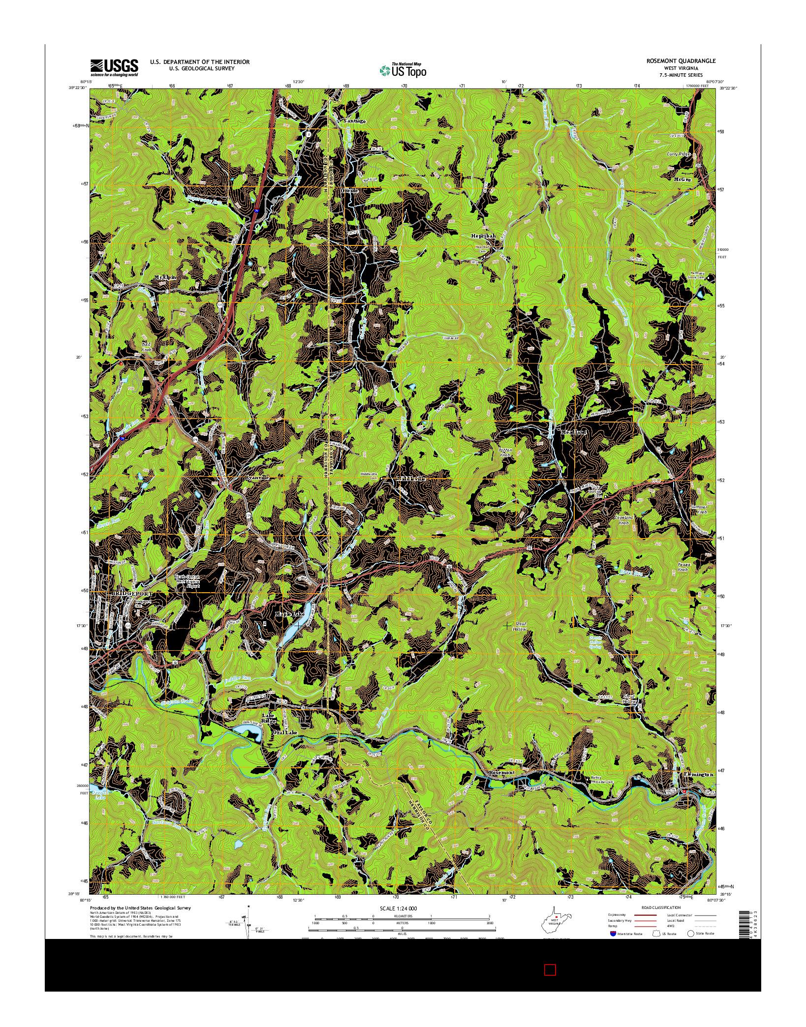 USGS US TOPO 7.5-MINUTE MAP FOR ROSEMONT, WV 2014