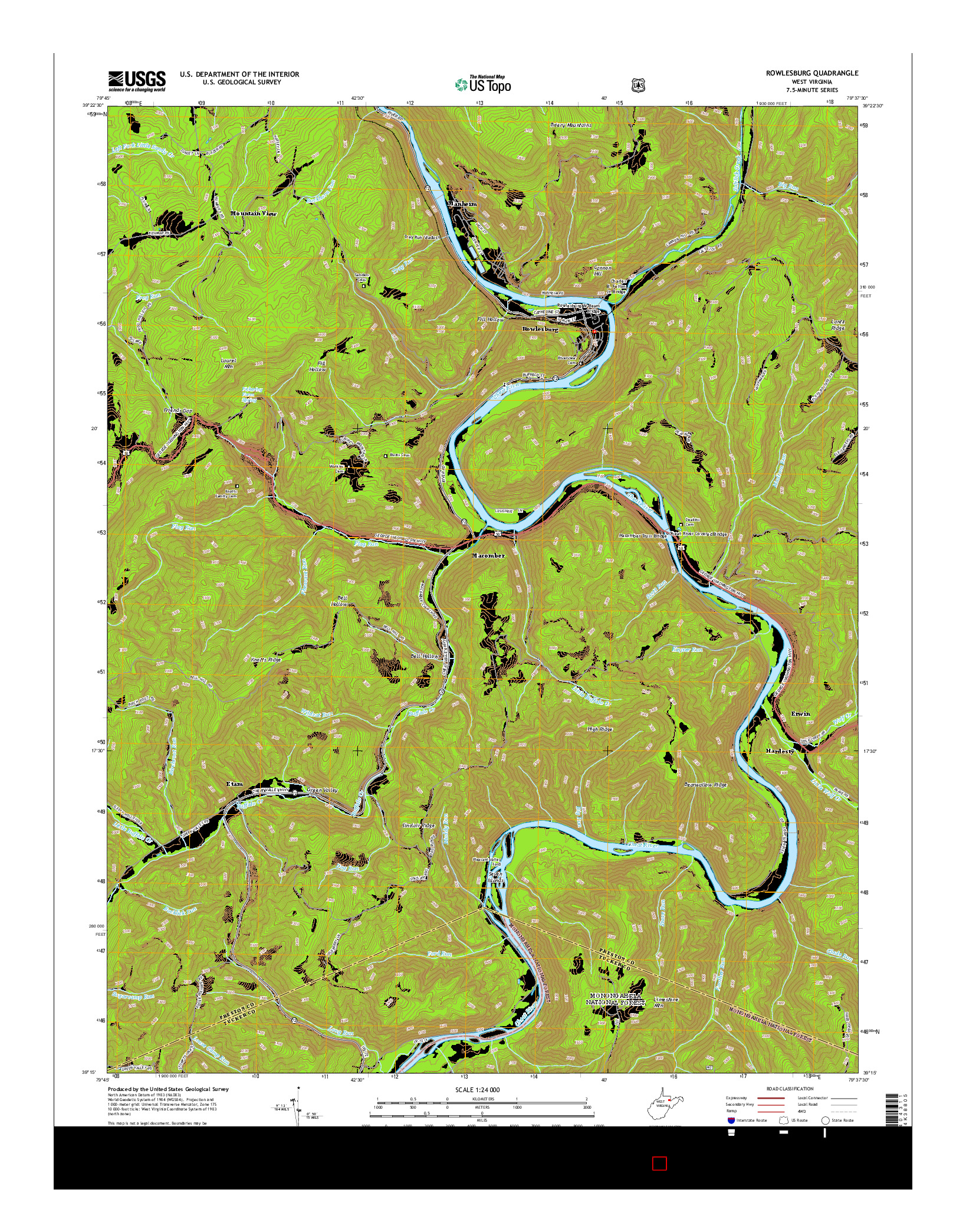 USGS US TOPO 7.5-MINUTE MAP FOR ROWLESBURG, WV 2014