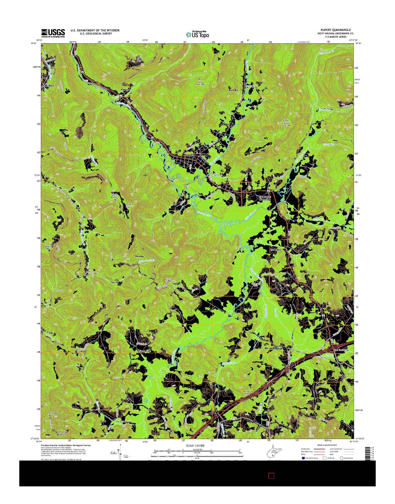 USGS US TOPO 7.5-MINUTE MAP FOR RUPERT, WV 2014