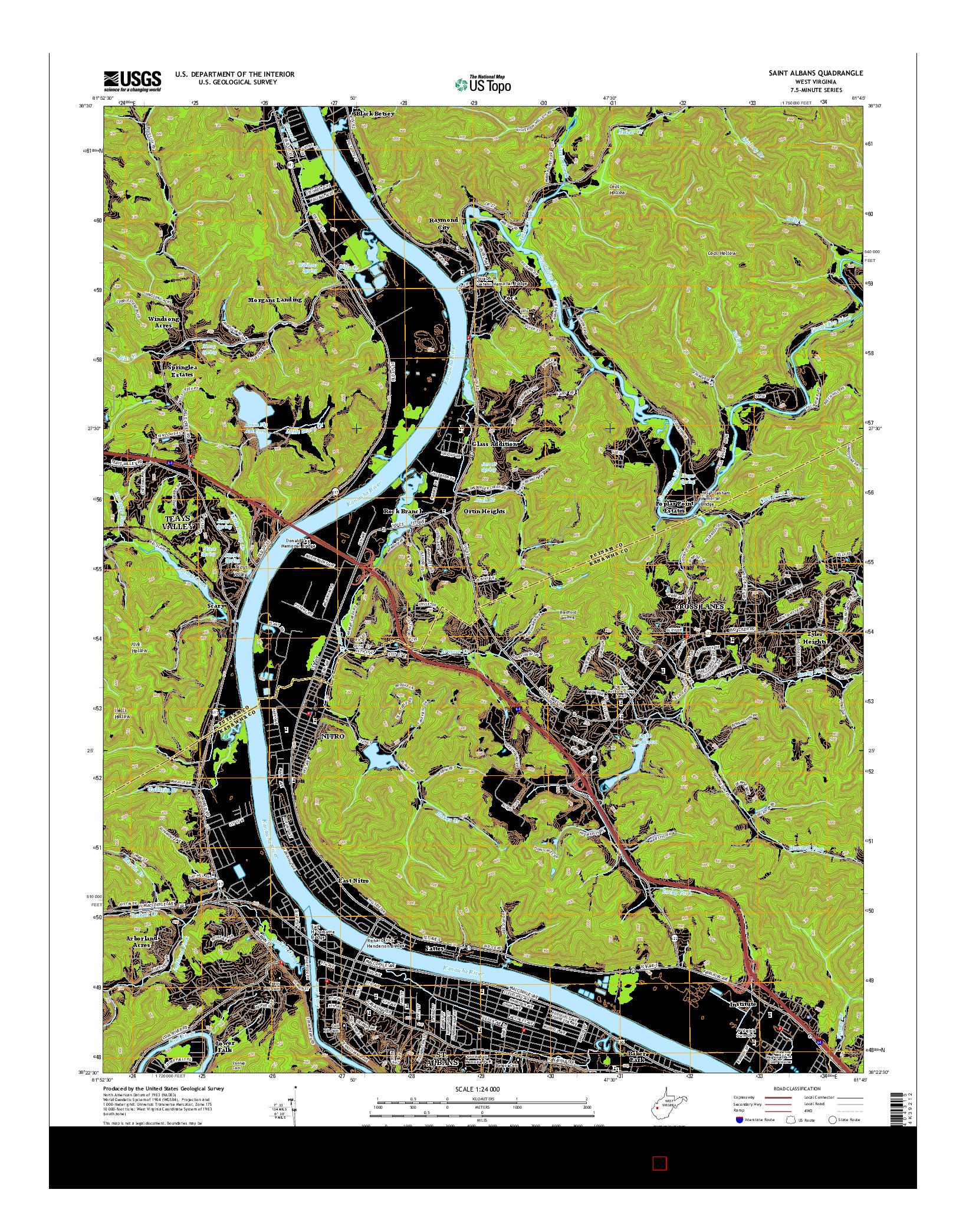 USGS US TOPO 7.5-MINUTE MAP FOR SAINT ALBANS, WV 2014