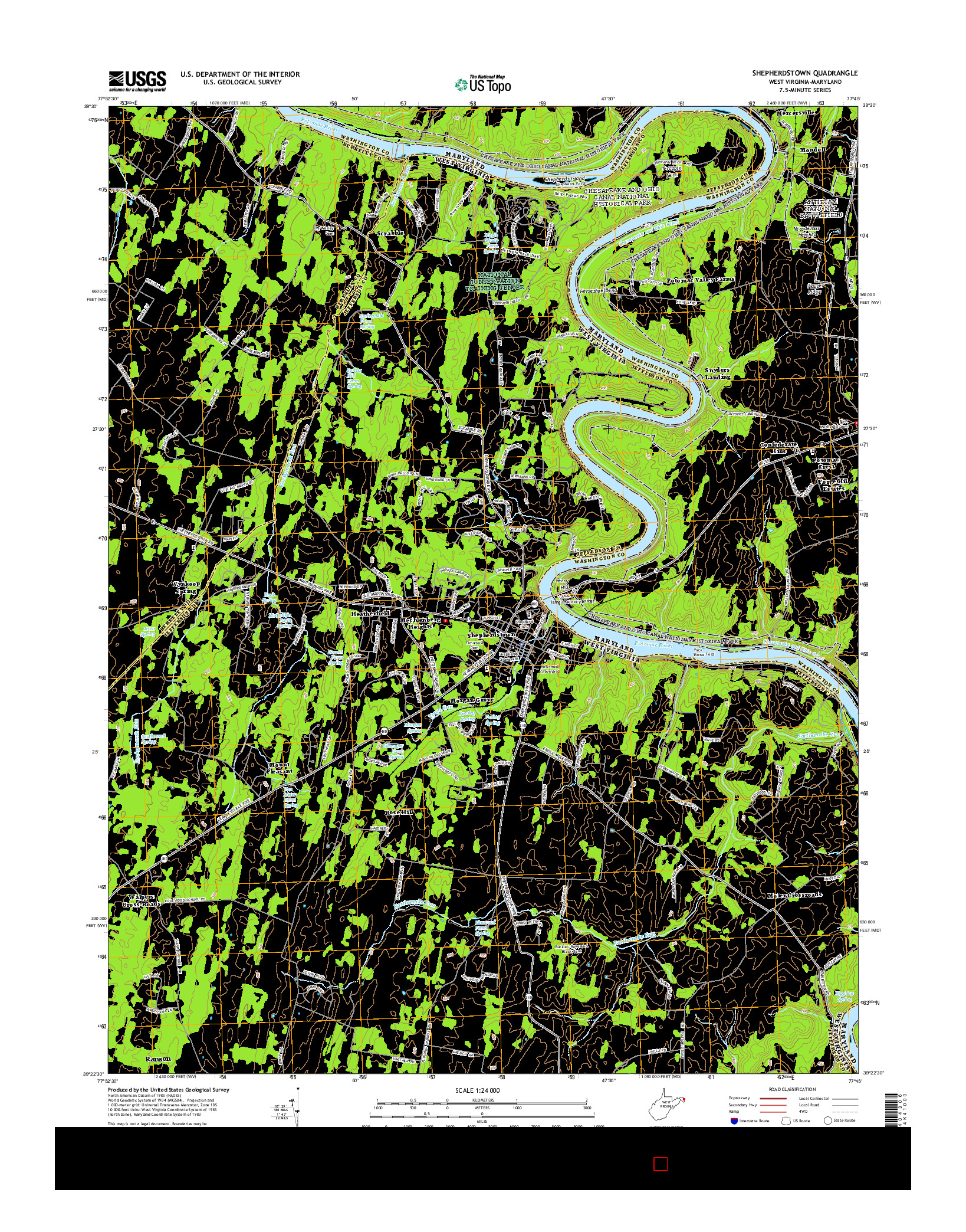 USGS US TOPO 7.5-MINUTE MAP FOR SHEPHERDSTOWN, WV-MD 2014