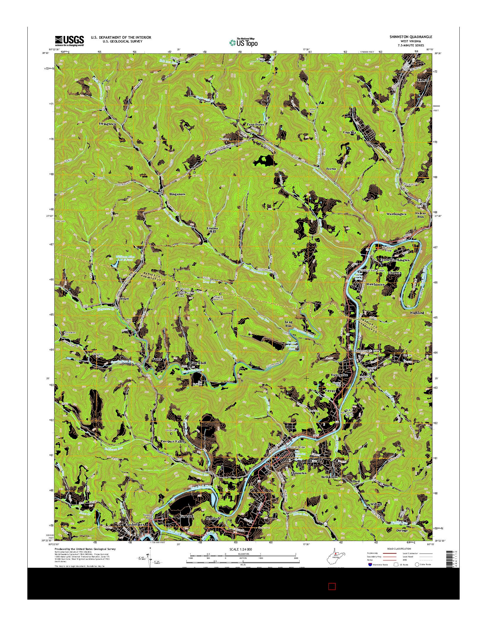 USGS US TOPO 7.5-MINUTE MAP FOR SHINNSTON, WV 2014