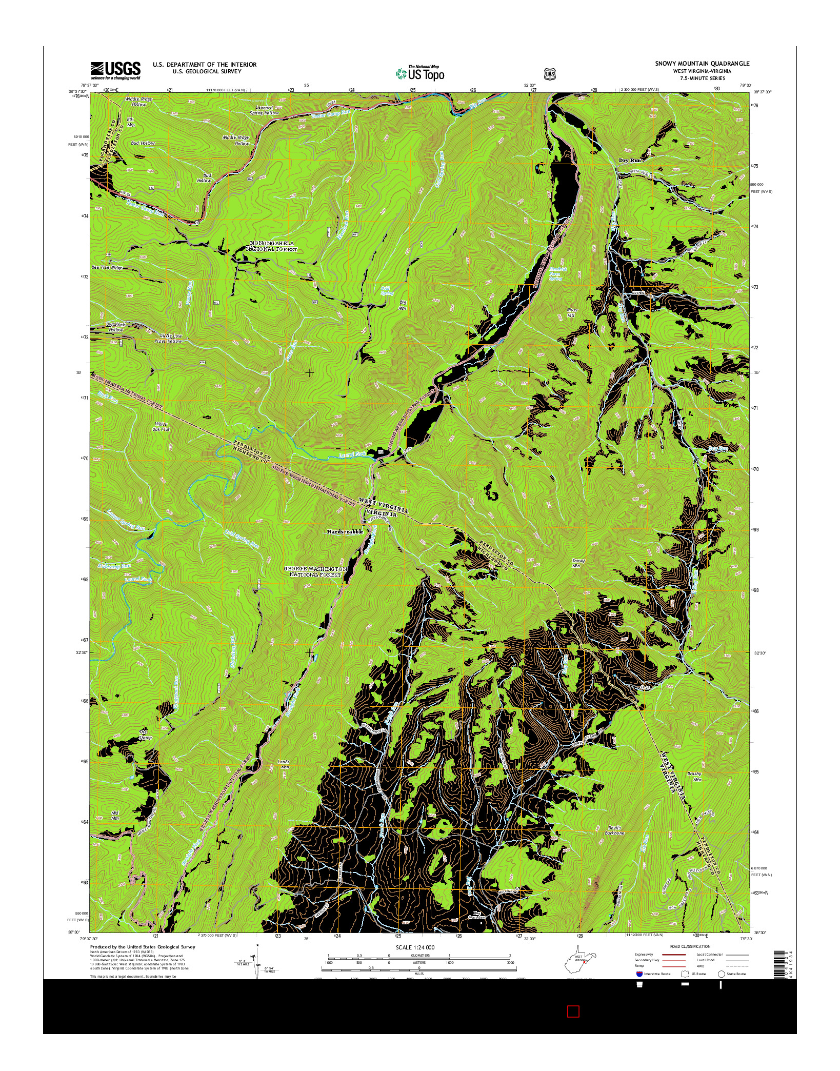 USGS US TOPO 7.5-MINUTE MAP FOR SNOWY MOUNTAIN, WV-VA 2014