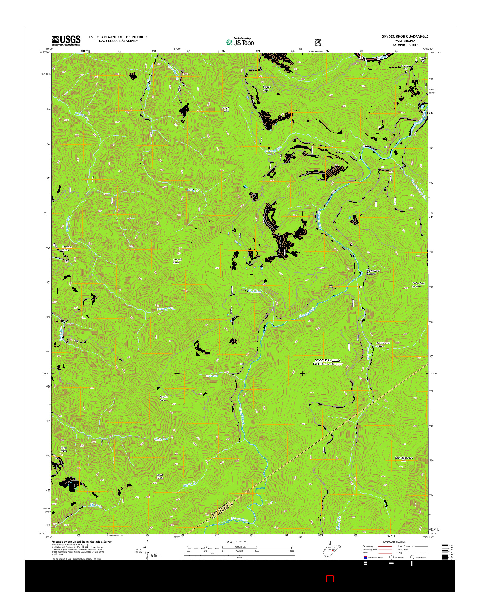 USGS US TOPO 7.5-MINUTE MAP FOR SNYDER KNOB, WV 2014