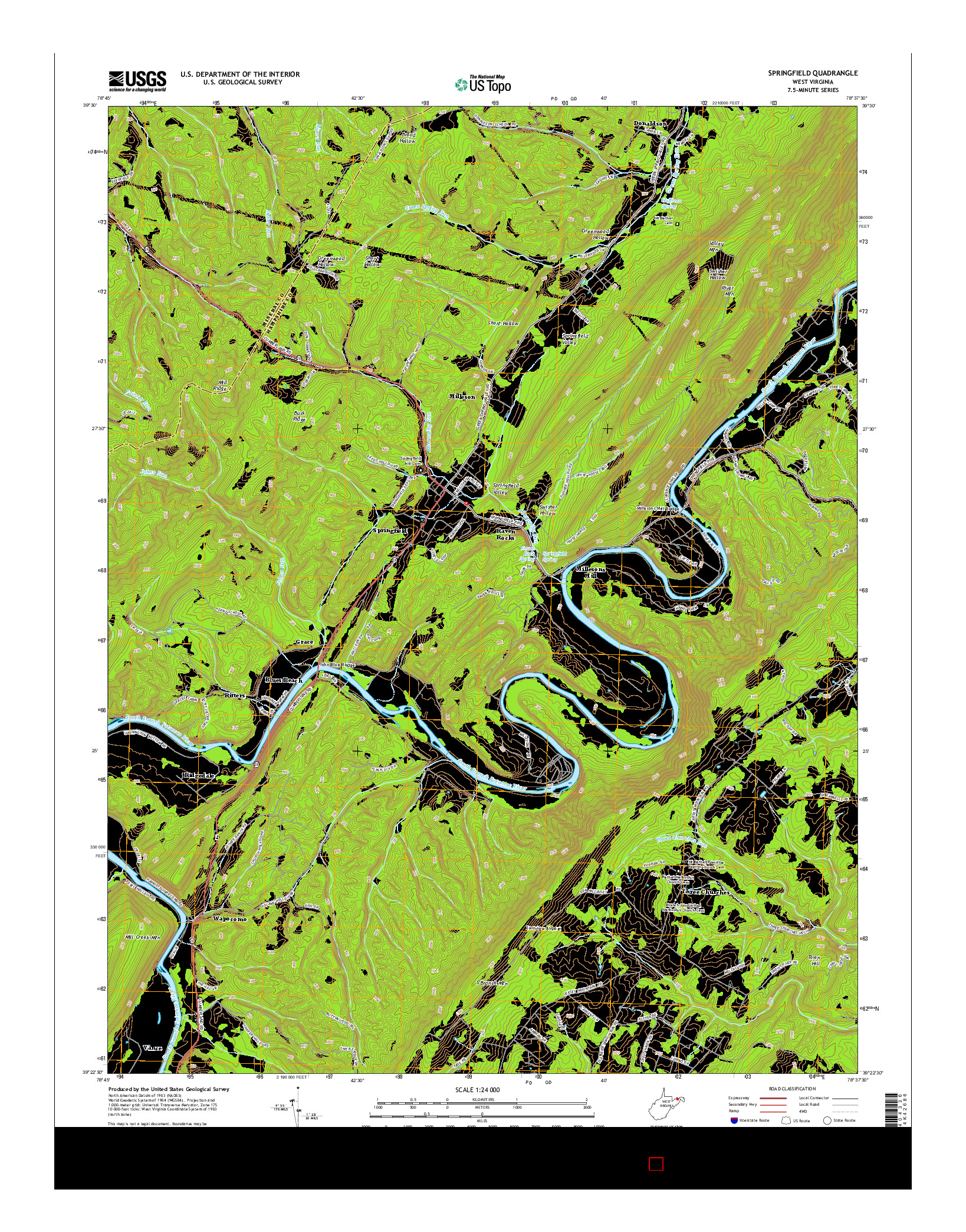 USGS US TOPO 7.5-MINUTE MAP FOR SPRINGFIELD, WV 2014
