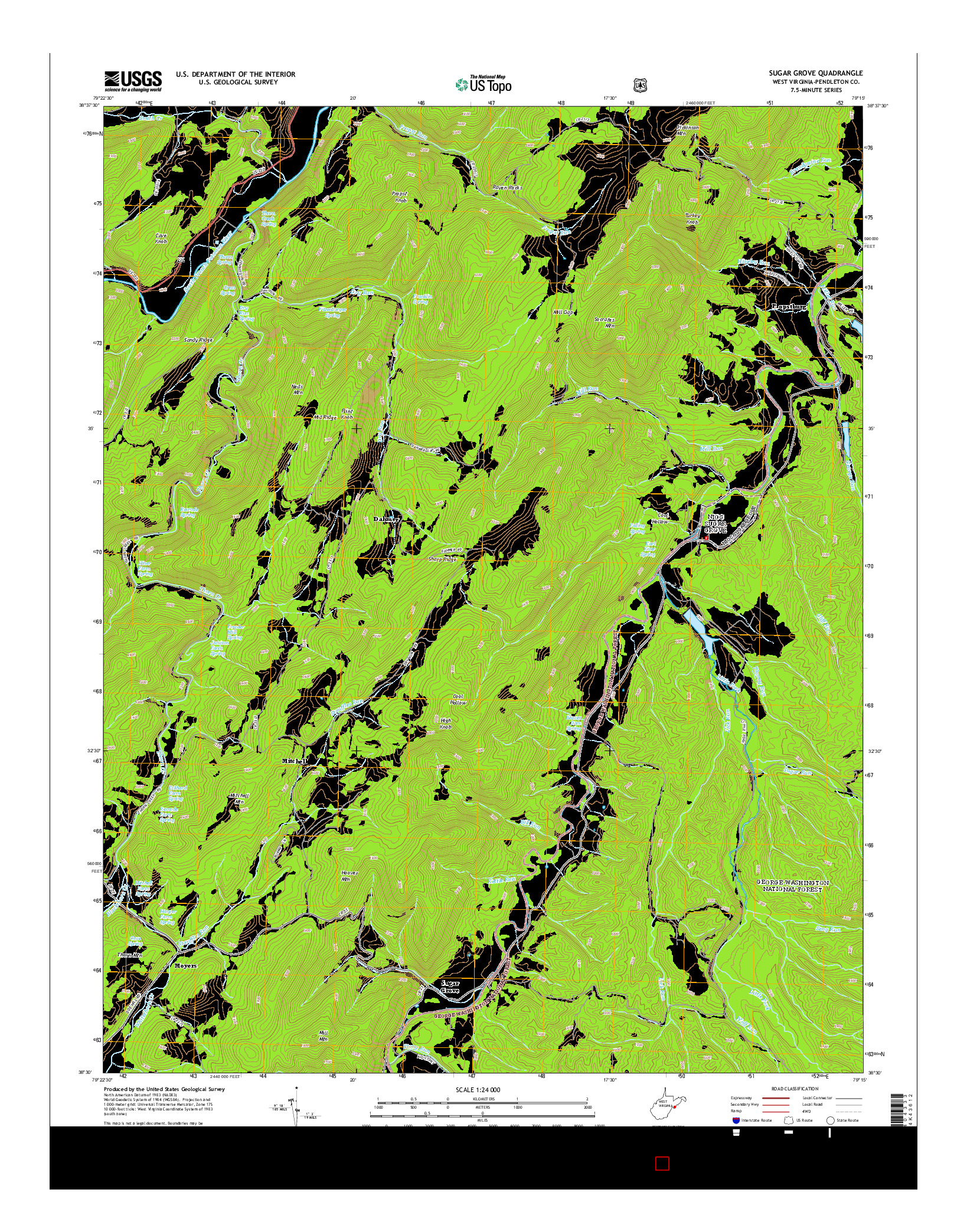 USGS US TOPO 7.5-MINUTE MAP FOR SUGAR GROVE, WV 2014