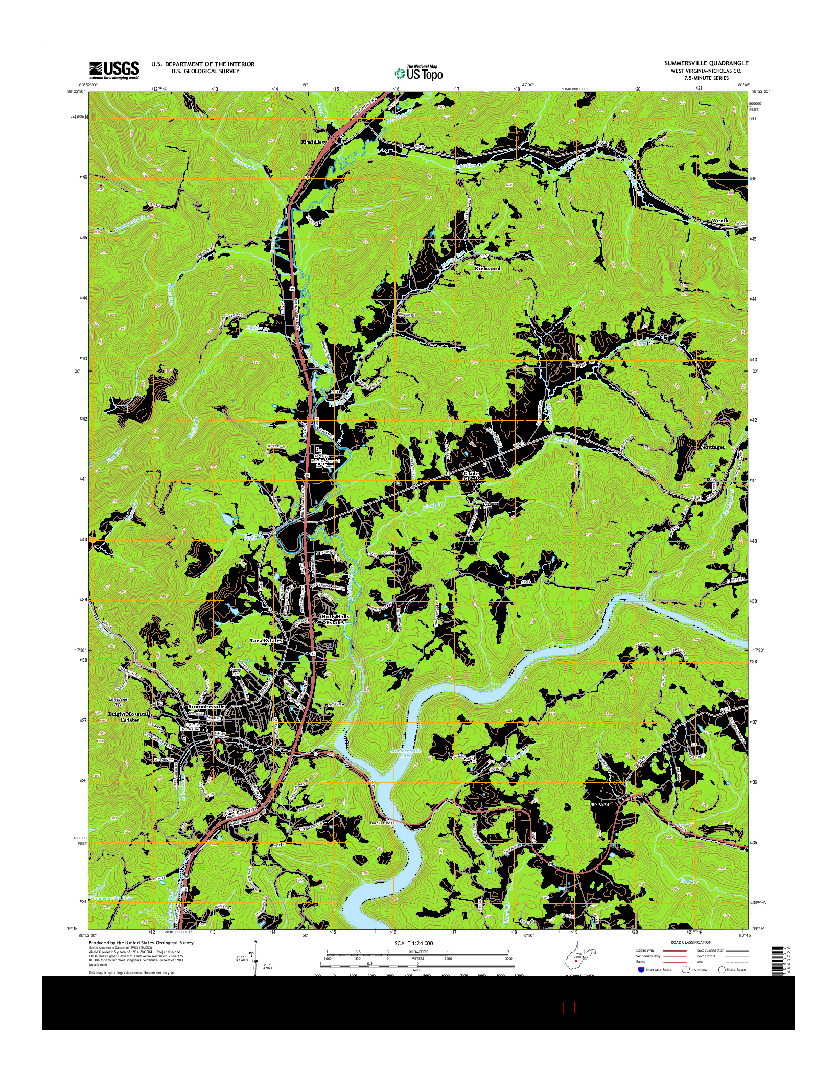 USGS US TOPO 7.5-MINUTE MAP FOR SUMMERSVILLE, WV 2014